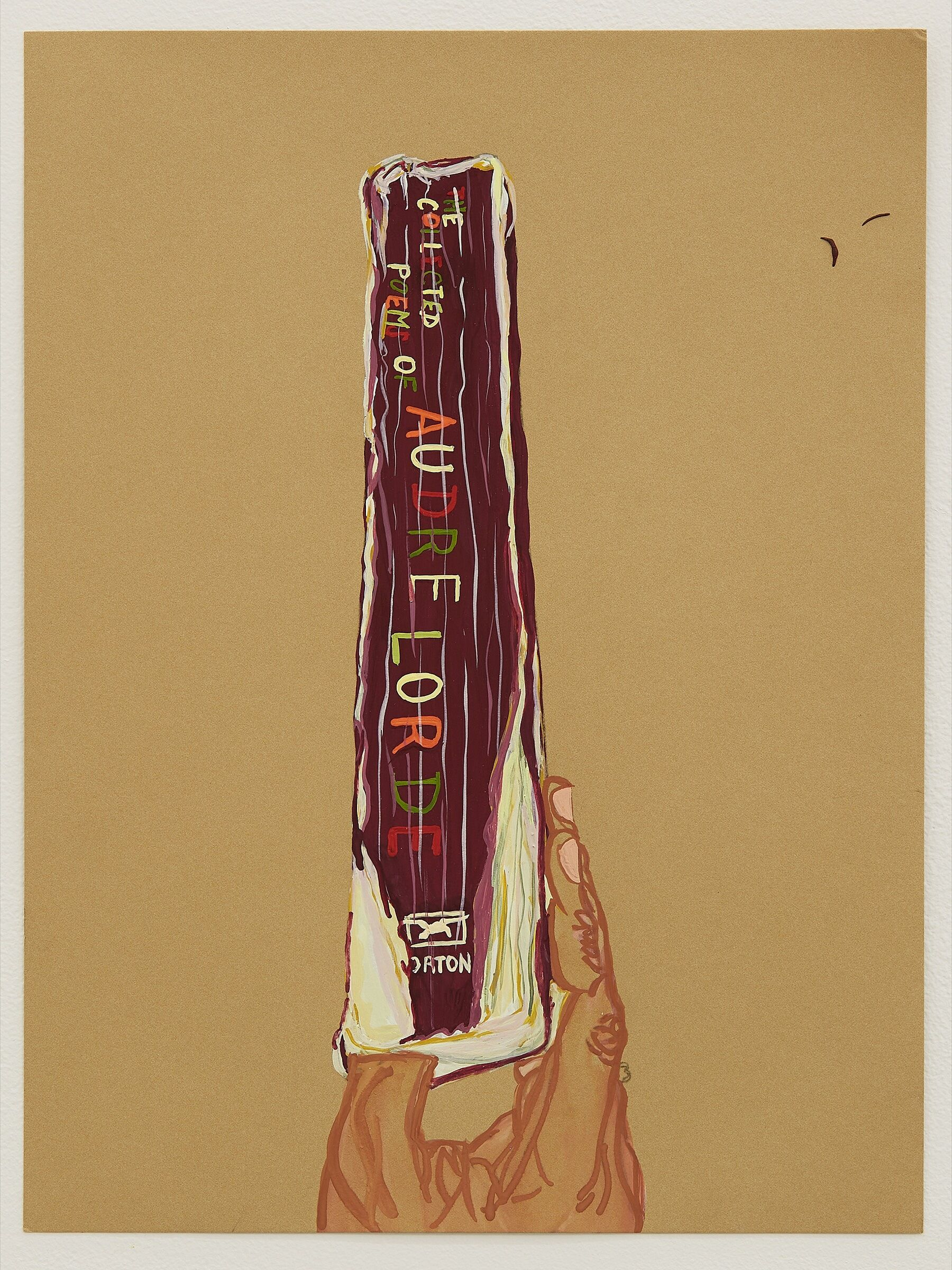 A painting of a hand holding up a book.