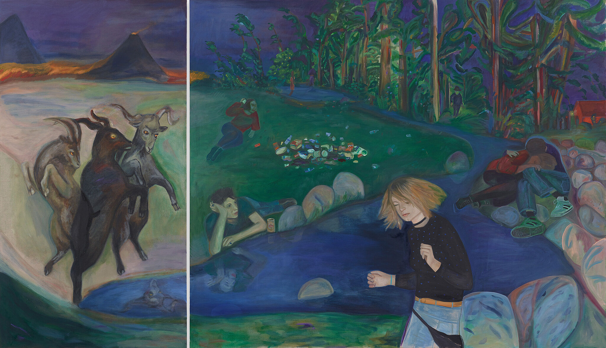 A two-panel painting. On the left side, three goat-like animals stand on their hind legs in a mountainous landscape. On the right panel, a series of lone figures and a couple inhabit a space with trees, rocks, and trash.