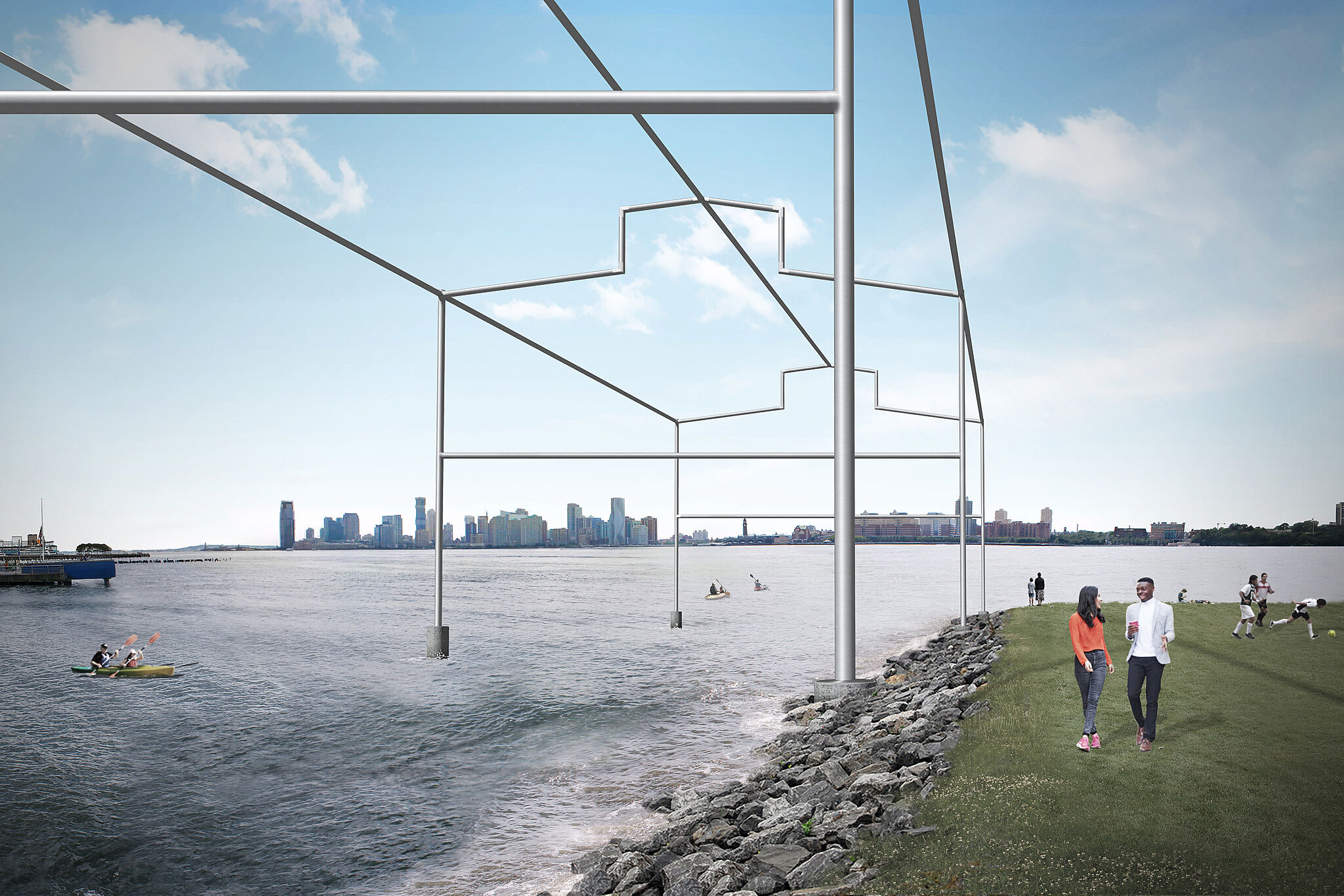 Rendering of a sculpture by David Hammons, resembling the frame of a shed rising from the Hudson River