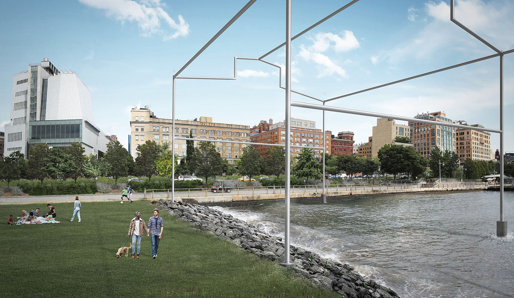 Rendering of a sculpture by David Hammons, resembling the frame of a shed rising from the Hudson River, viewed looking east