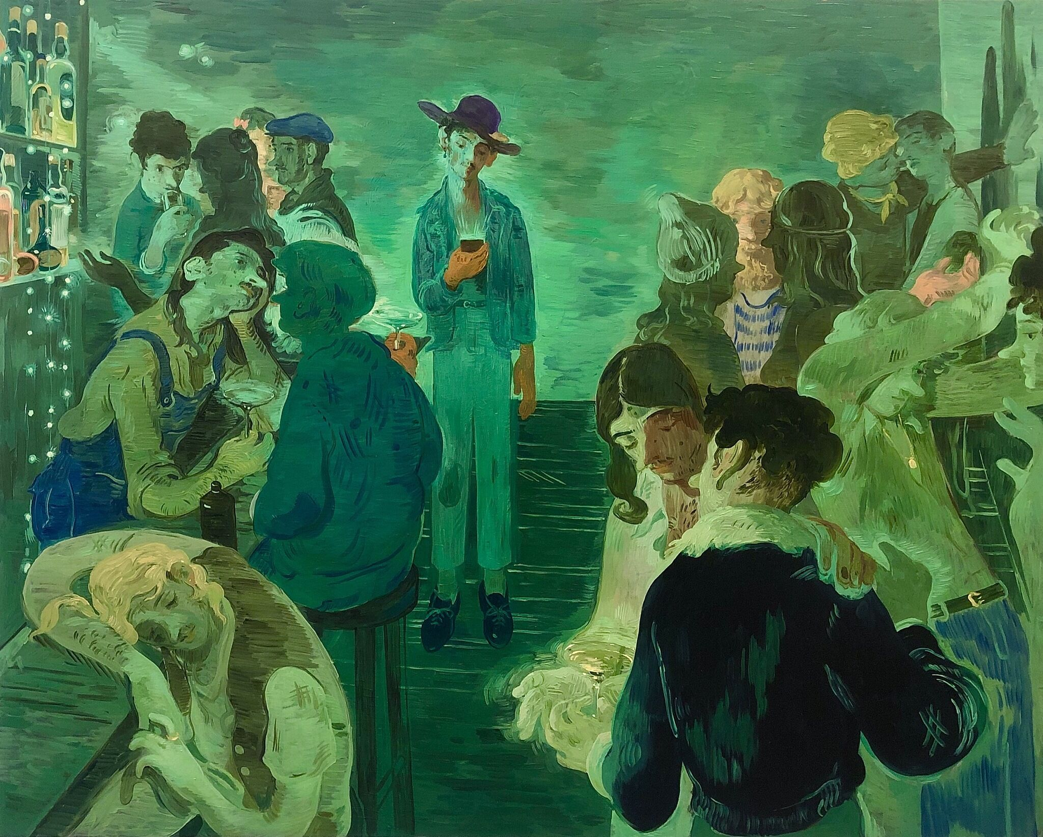 A painting of a bar lit in green light filled with people dancing, kissing, checking their phones, and drinking.