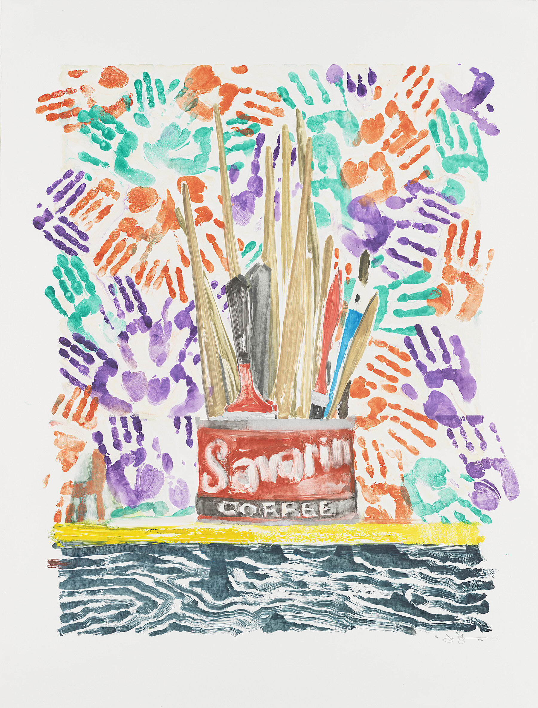 a lithograph of a Savarin coffee can filled with paint brushes with orange, green, and purple hand prints in the background