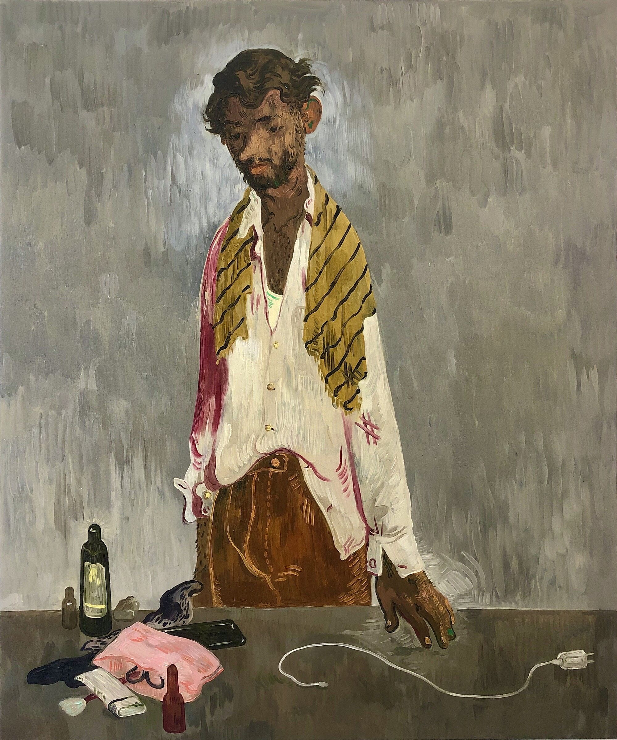 A painting of a man with brown skin and brown hair looking down at a table of objects.