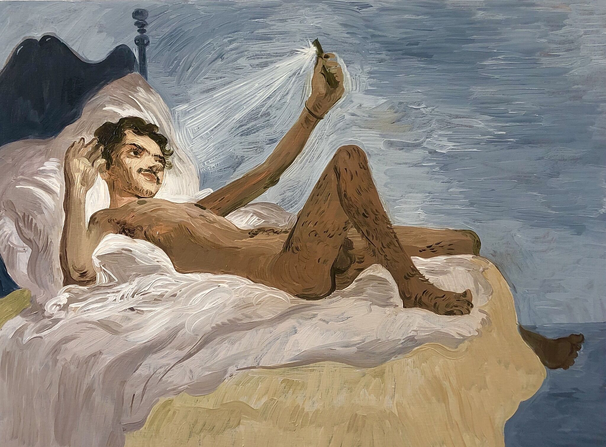 A painting of a man naked in bed taking a photo of himself.