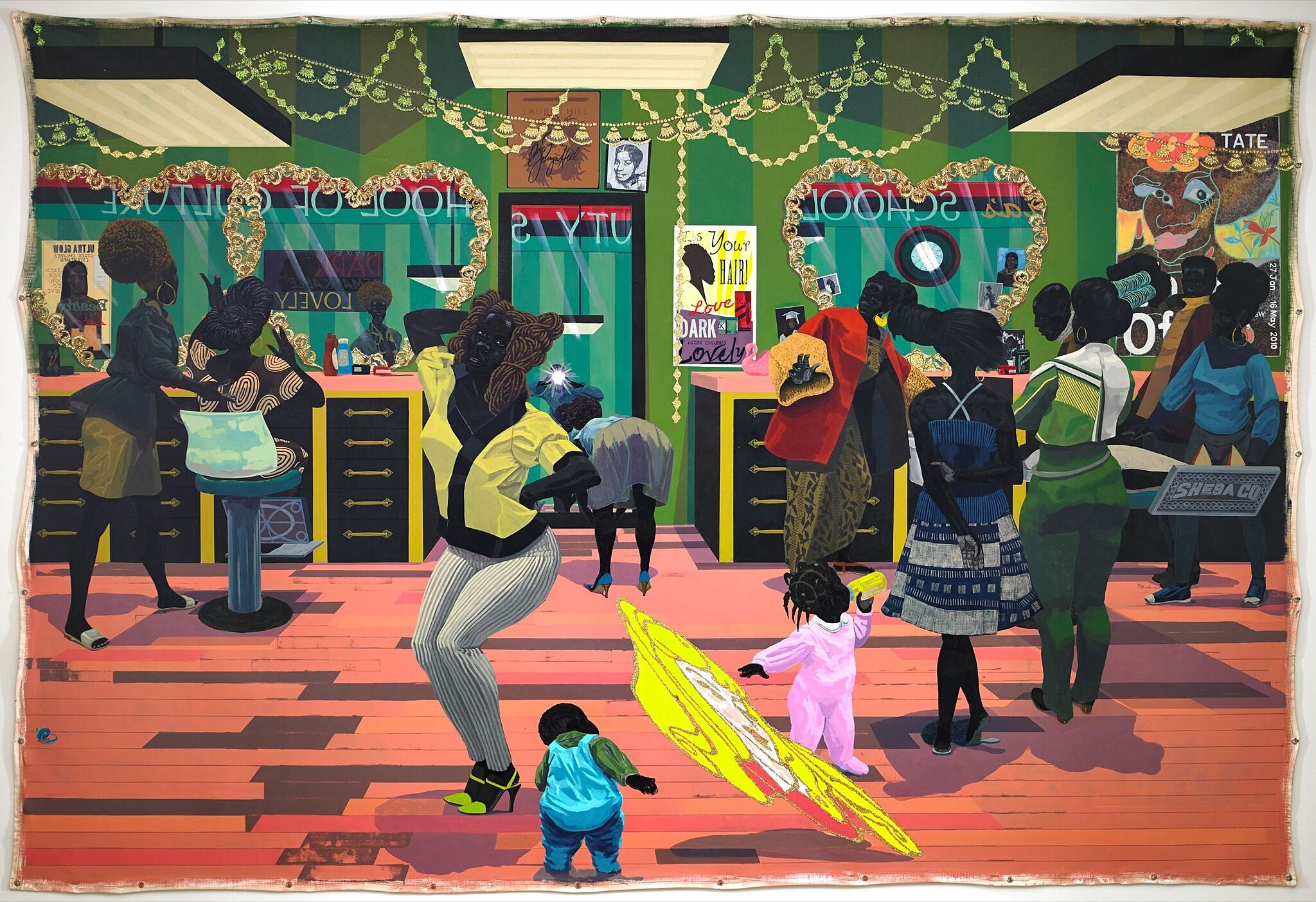 A painting of a barbershop full of people.