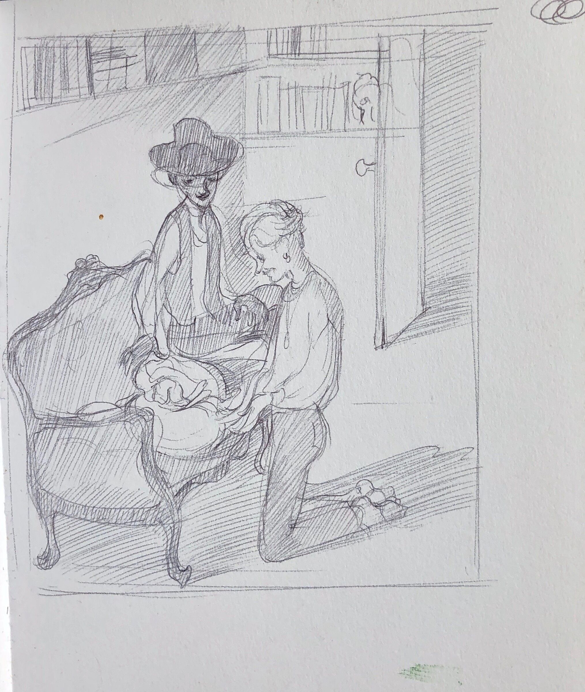 A sketch drawing of of two people playing with a dog on a couch.