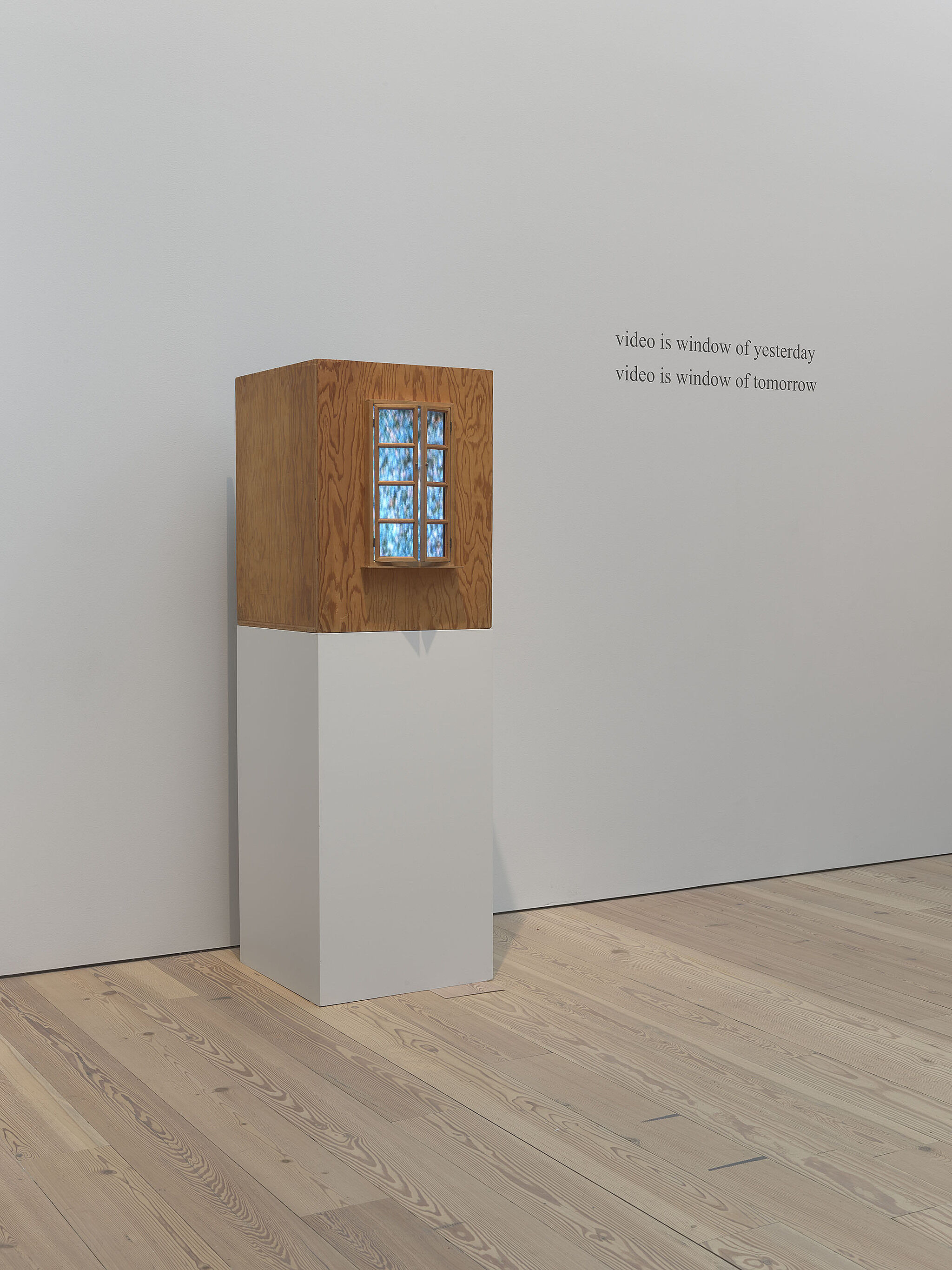 A wood-box sculpture in the Whitney galleries.