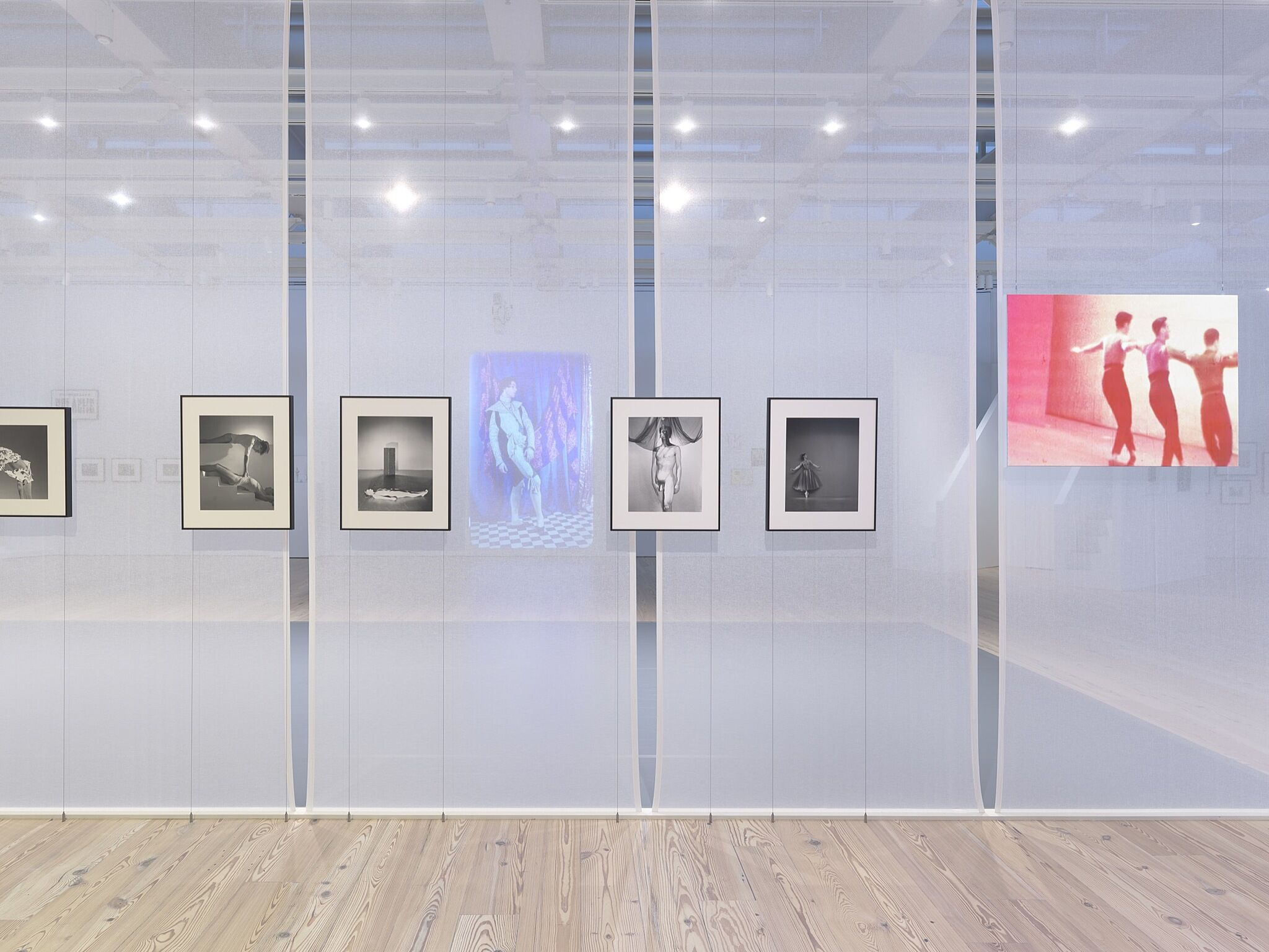 A photo of the Whitney galleries with various photos and videos on the wall.