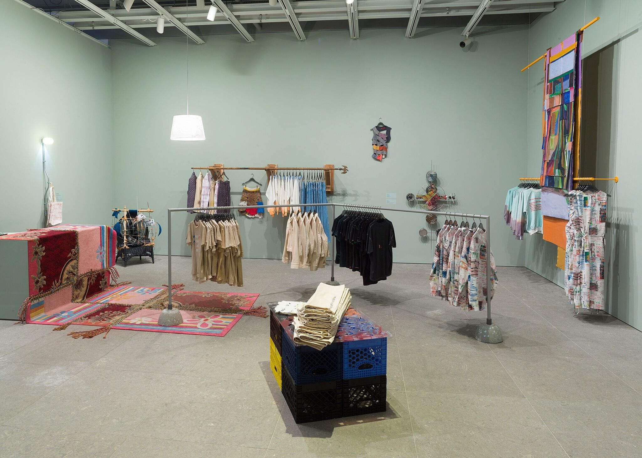 A gallery space filled to look like a retail store.