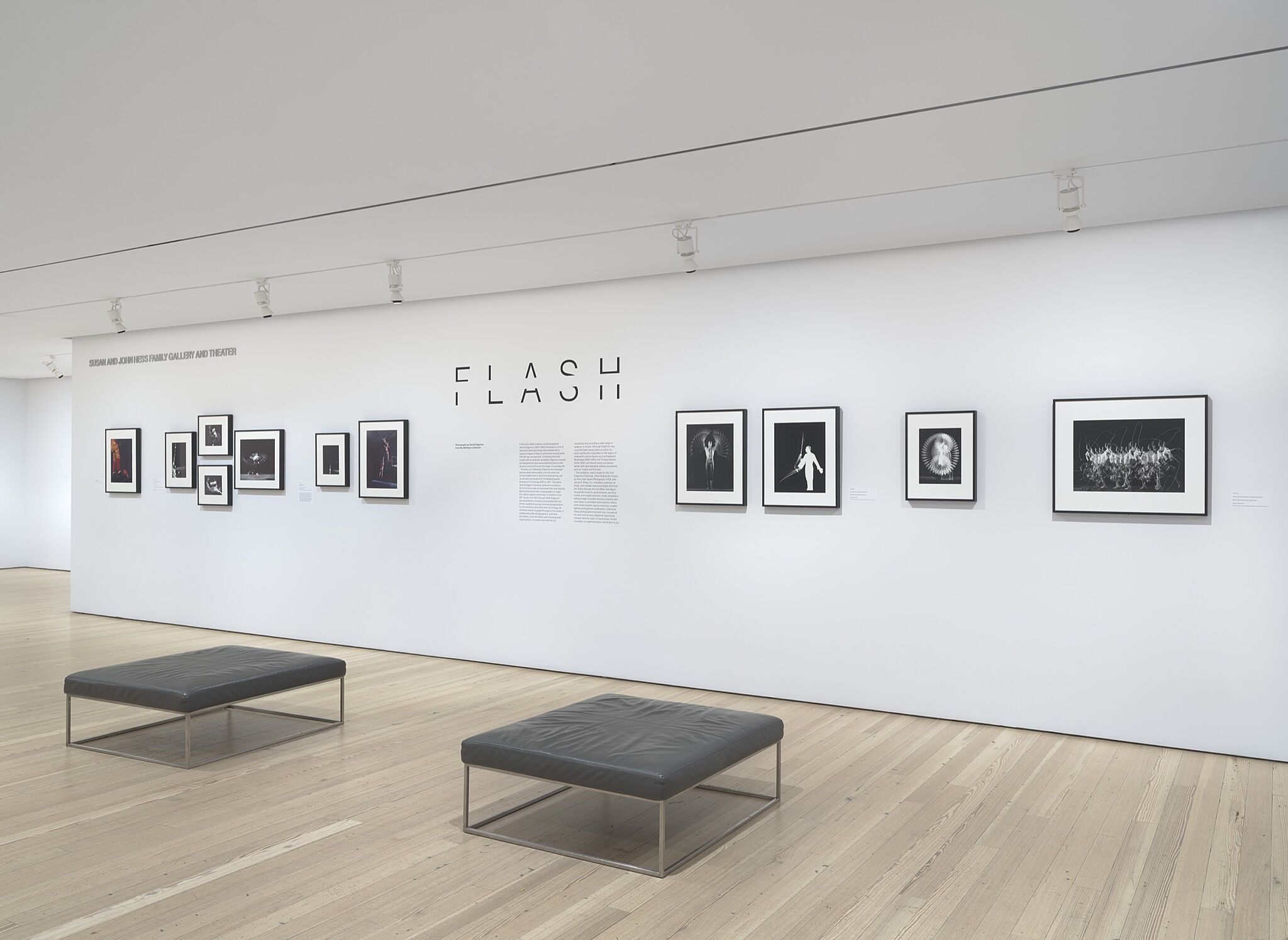 A gallery space with various photographs framed on the wall.