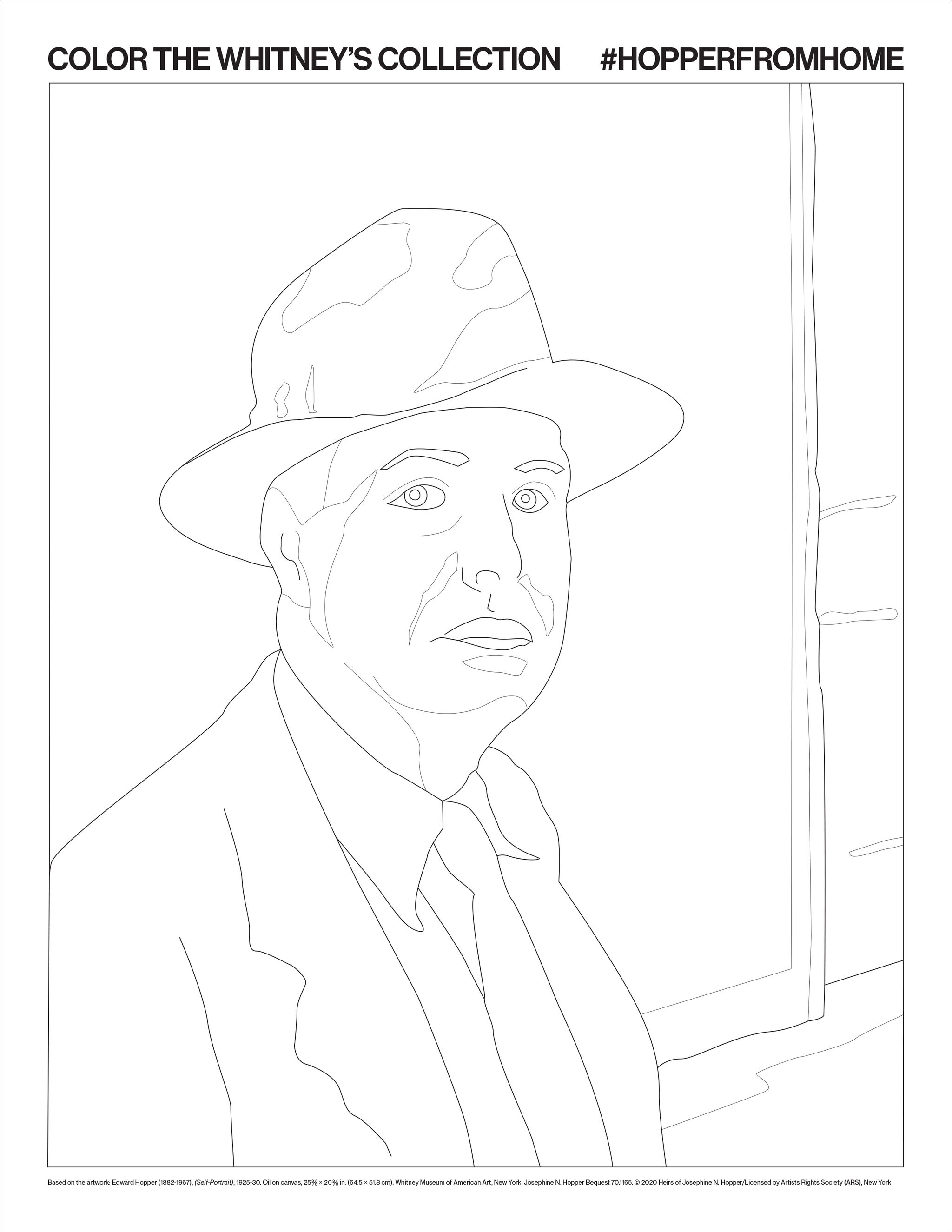 Coloring book page of Edward Hopper's Self-Portrait.