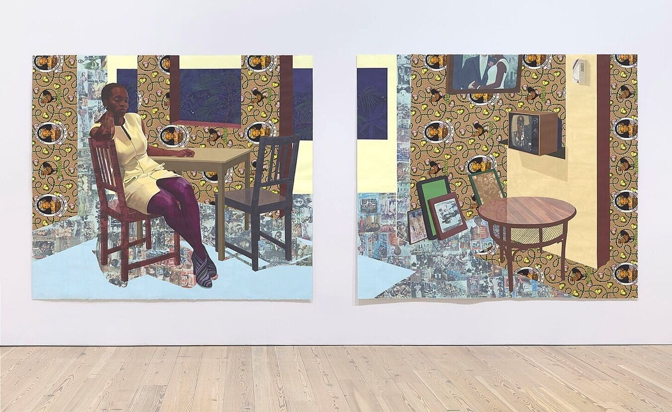 An installation view of a painting.
