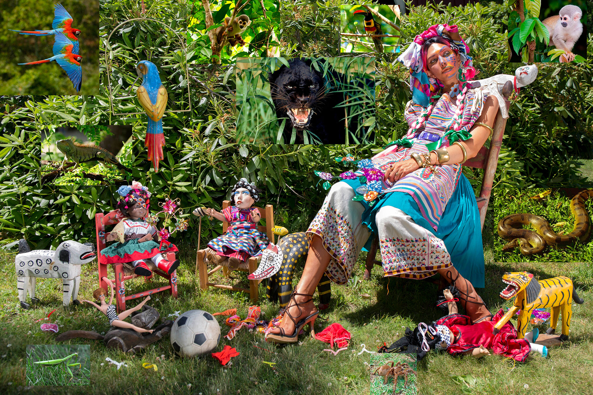 A woman in a brightly colored outfit lounges in a chair on grass, with wild animals, dolls, and a soccer ball on the ground and peeking out from the foliage.