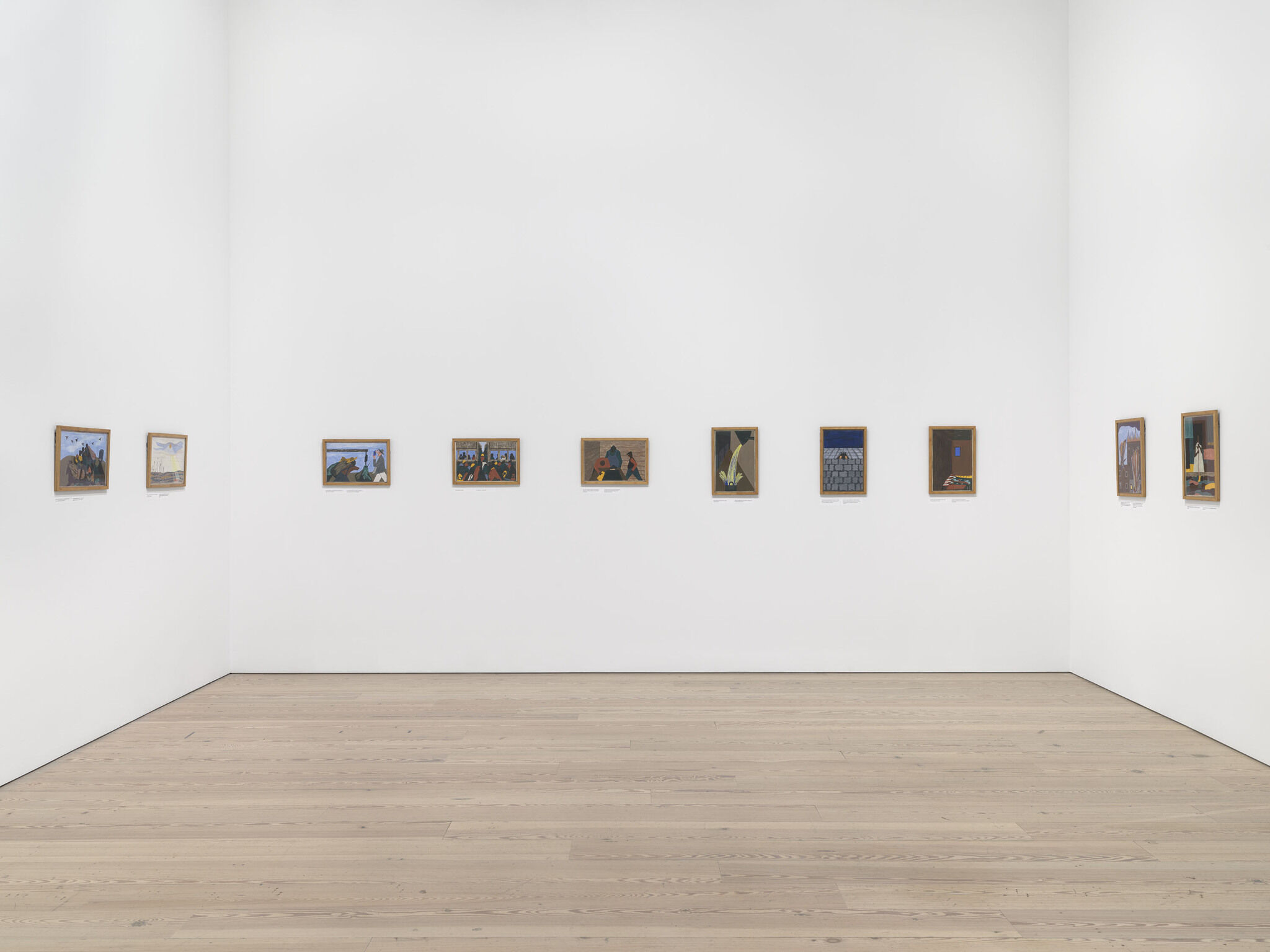 Gallery view of Jacob Lawrence's The Migration Series in Vida Americana: Mexican Muralists Remake American Art, 1925–1945