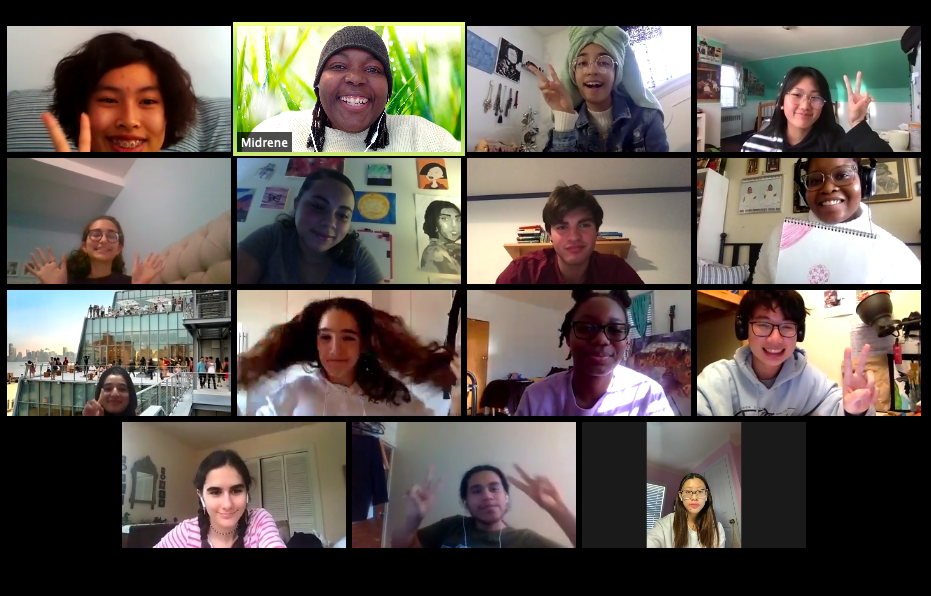 Screenshot of Youth Insights Artists on Zoom, April 2020.