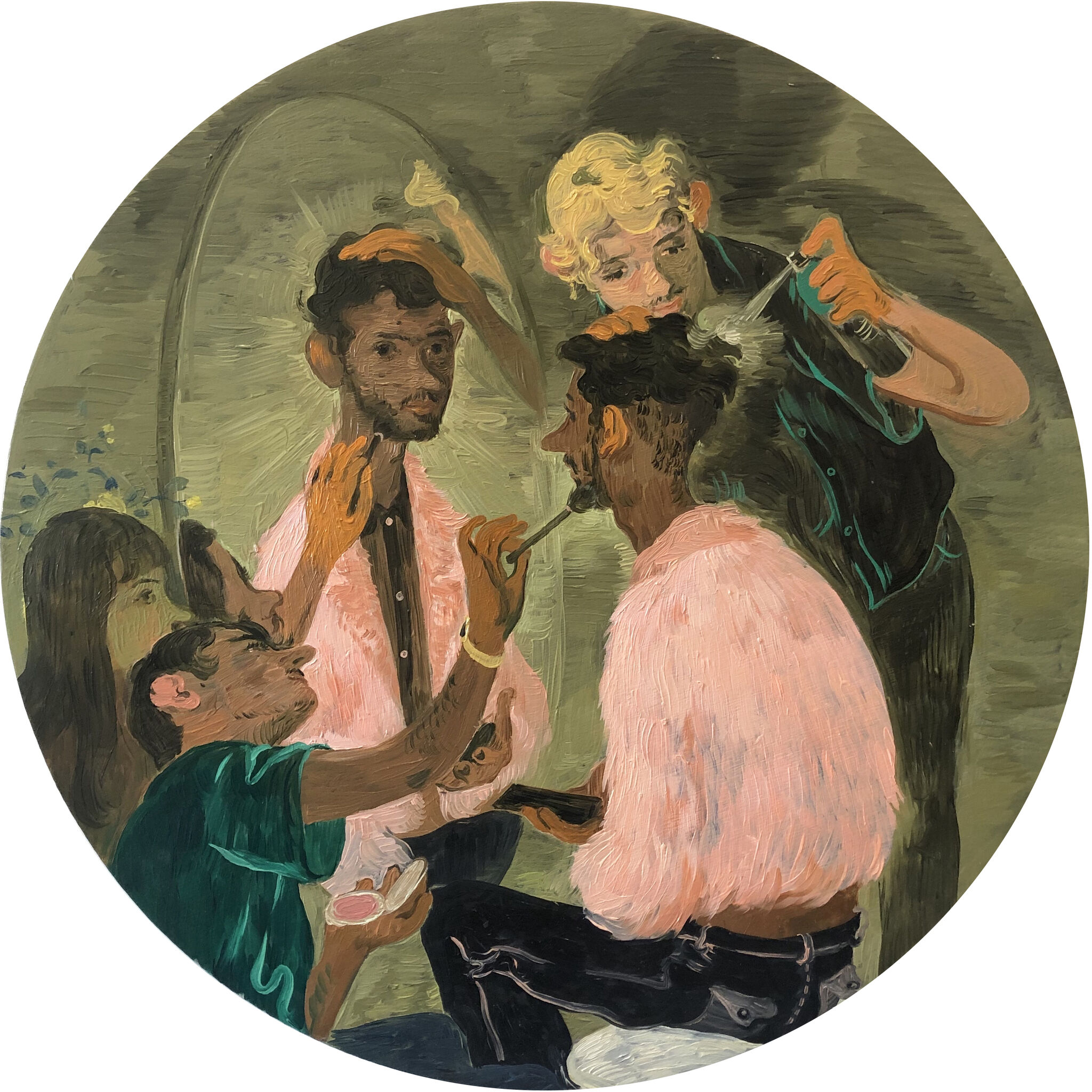 A team of three stylists putting makeup on a person wearing a pink coat and looking in a mirror