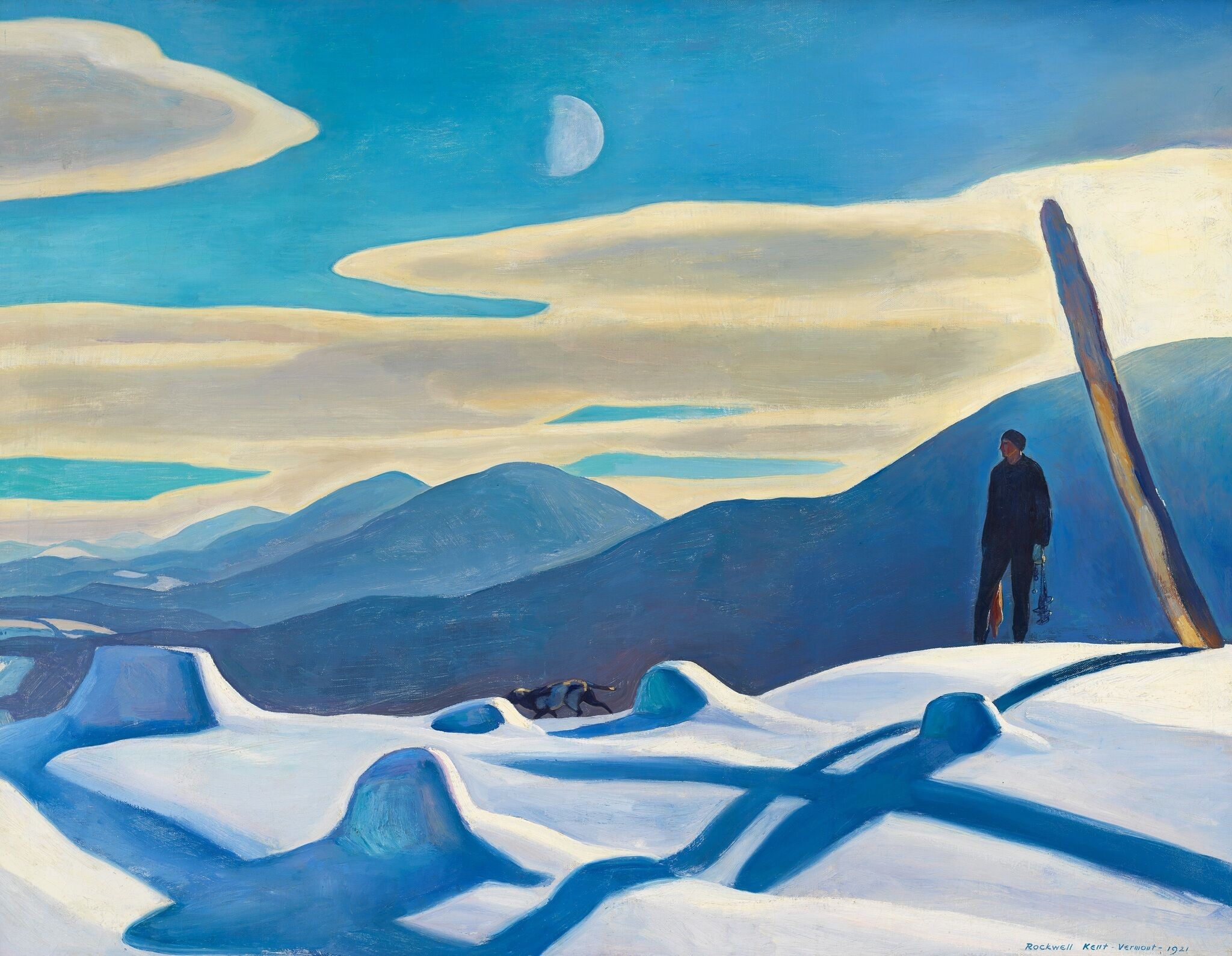A painting of a person looking out at a snowy hillside landscape.
