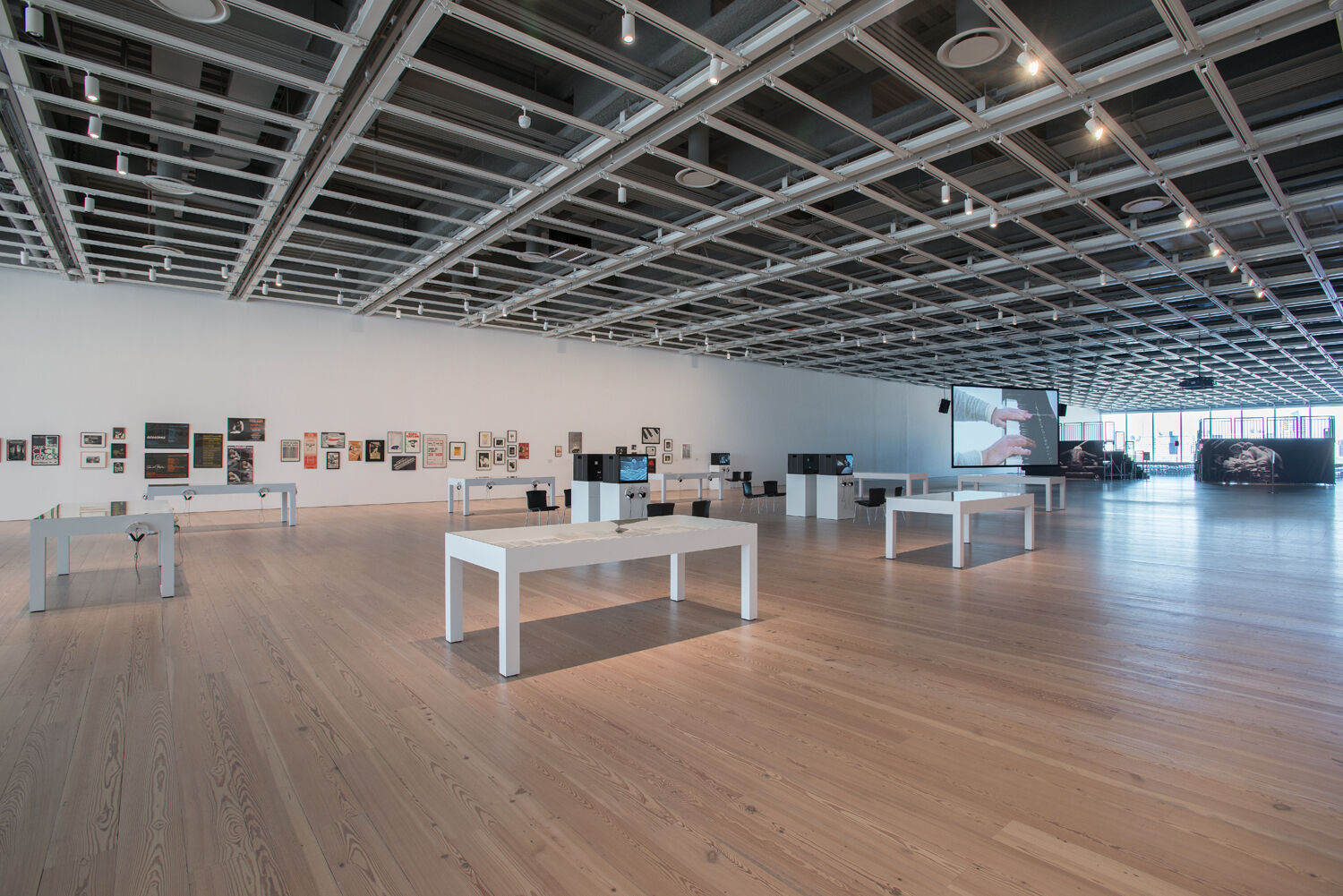 A gallery filled with art.