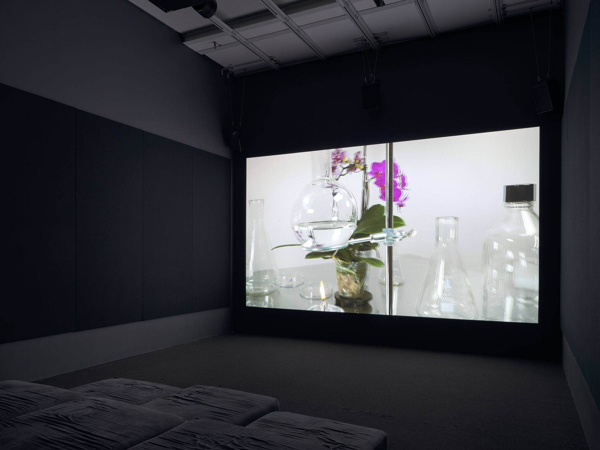 A screen playing a video in a dark room.