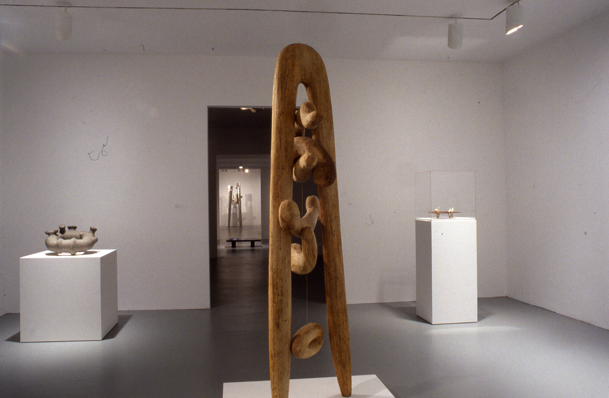 A gallery filled with sculptures.