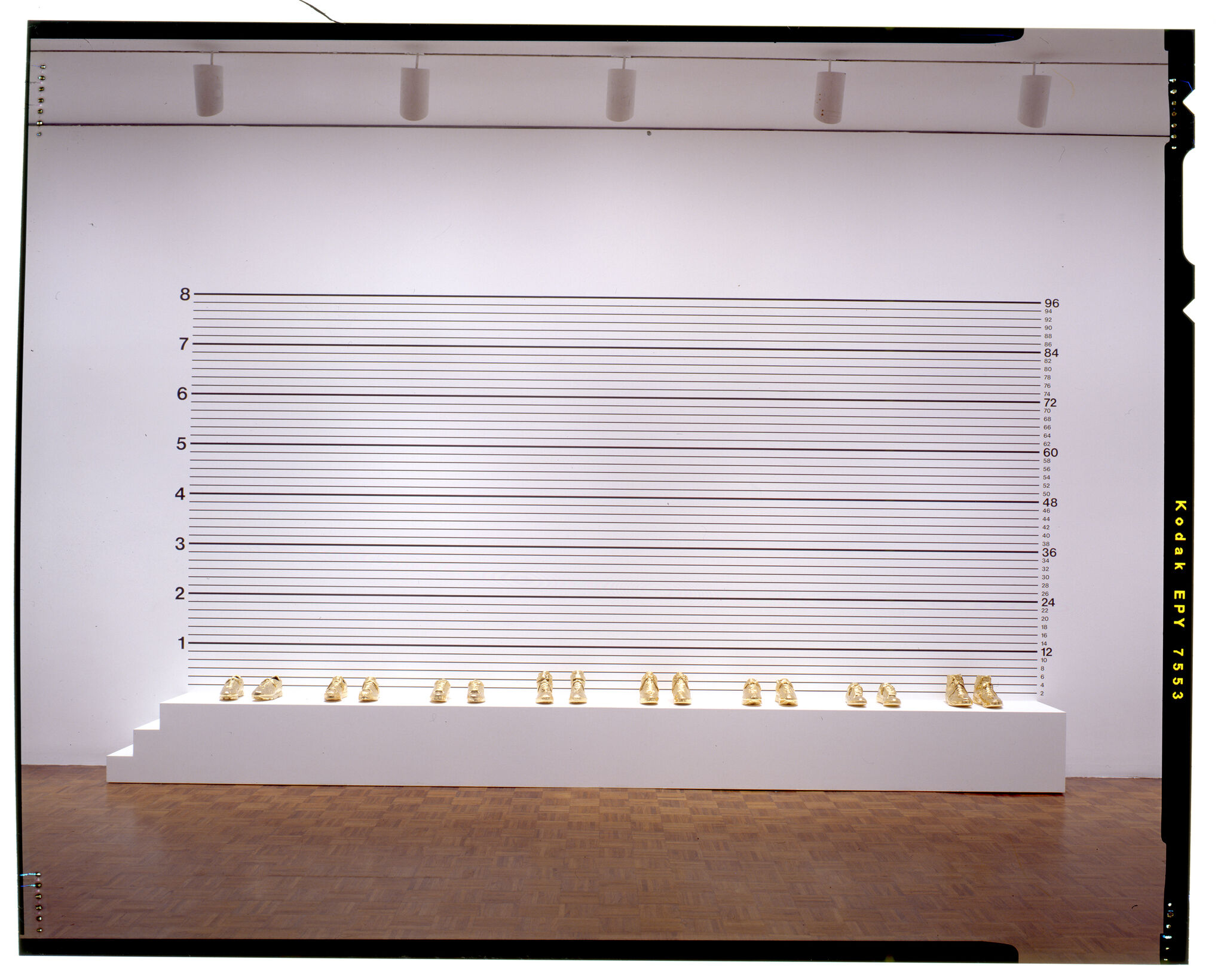 An installation view made up of golden shoes displayed in a line in front of a wall with measurements.