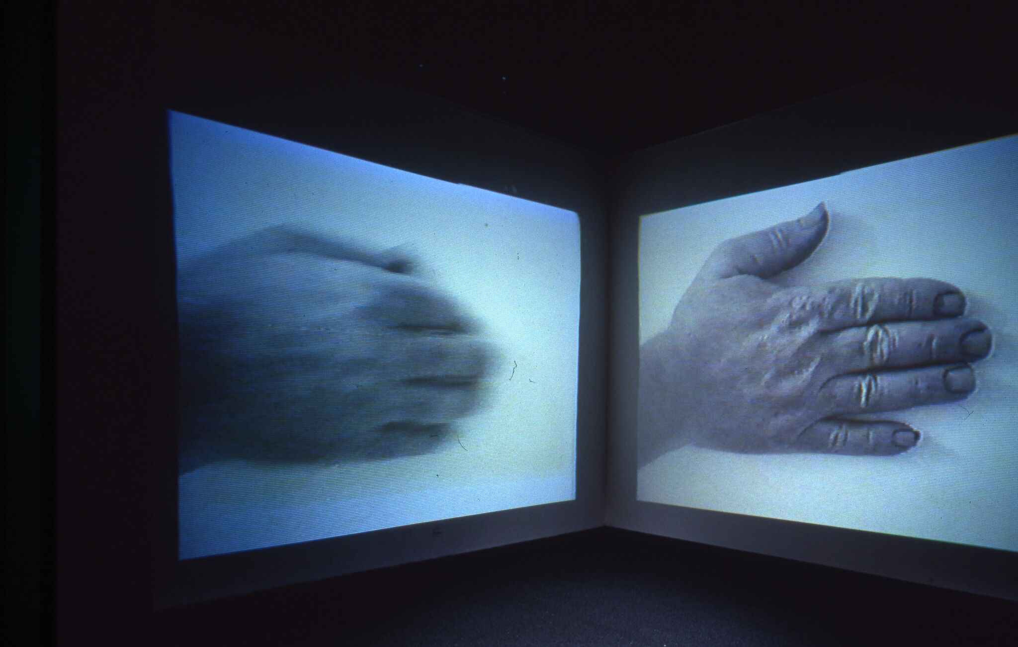 Two projected blue-hued images of a hand.