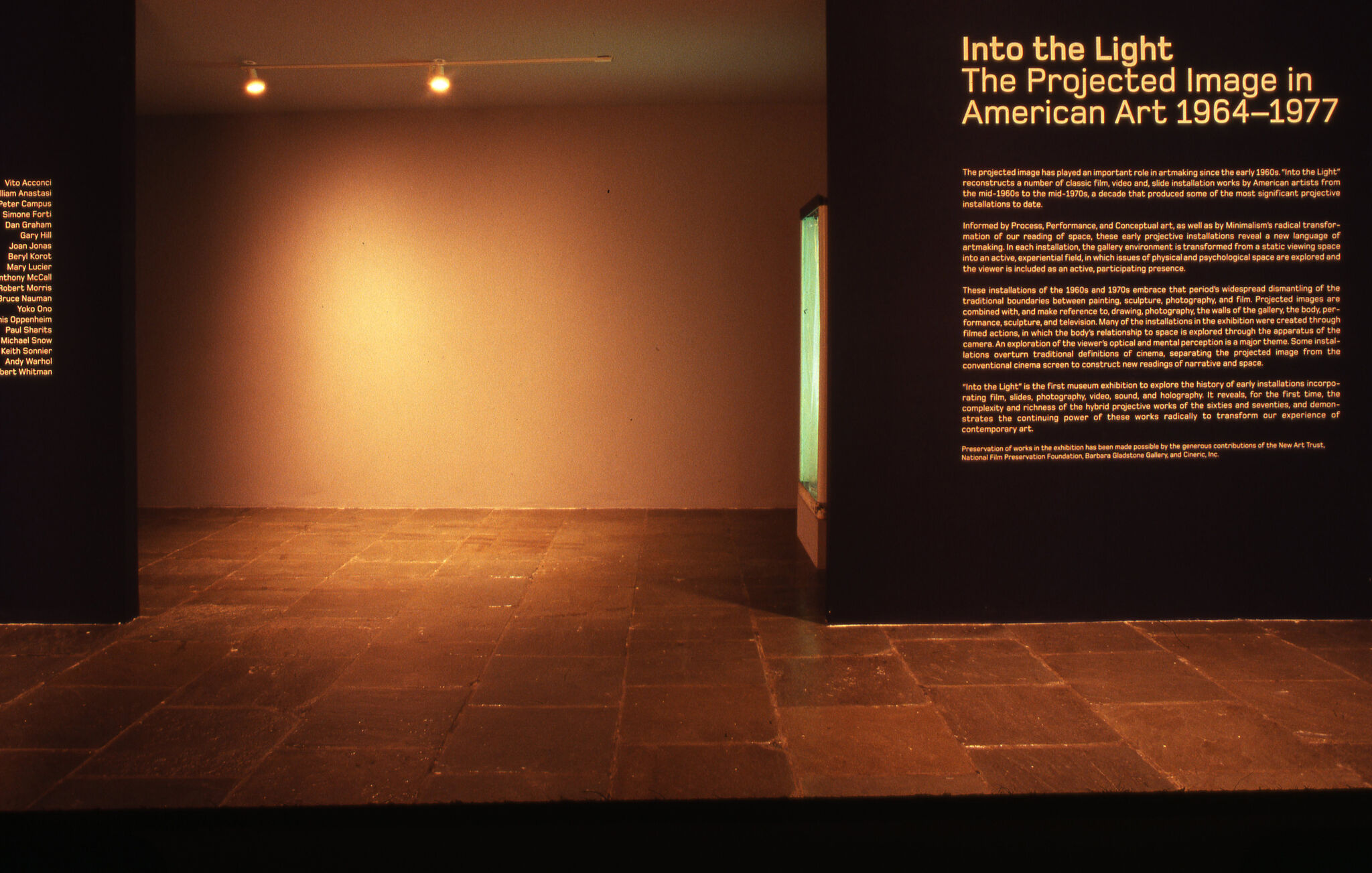 A black wall with wall text for the entrance of Into the Light: Projected Images in American Art 1964–1967.