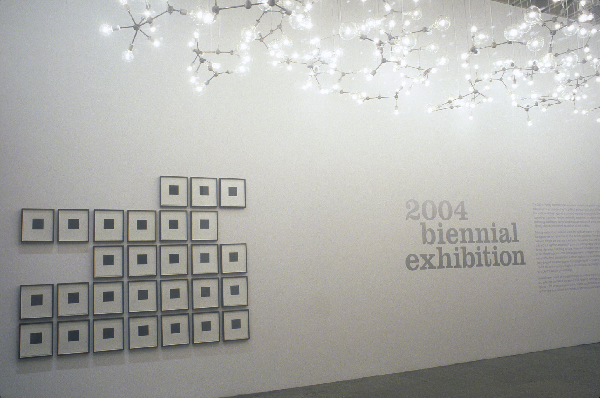 Bright lightbulbs hanging from the ceiling along with prints of black squares displayed next to wall text for the 2004 Biennial Exhibition.