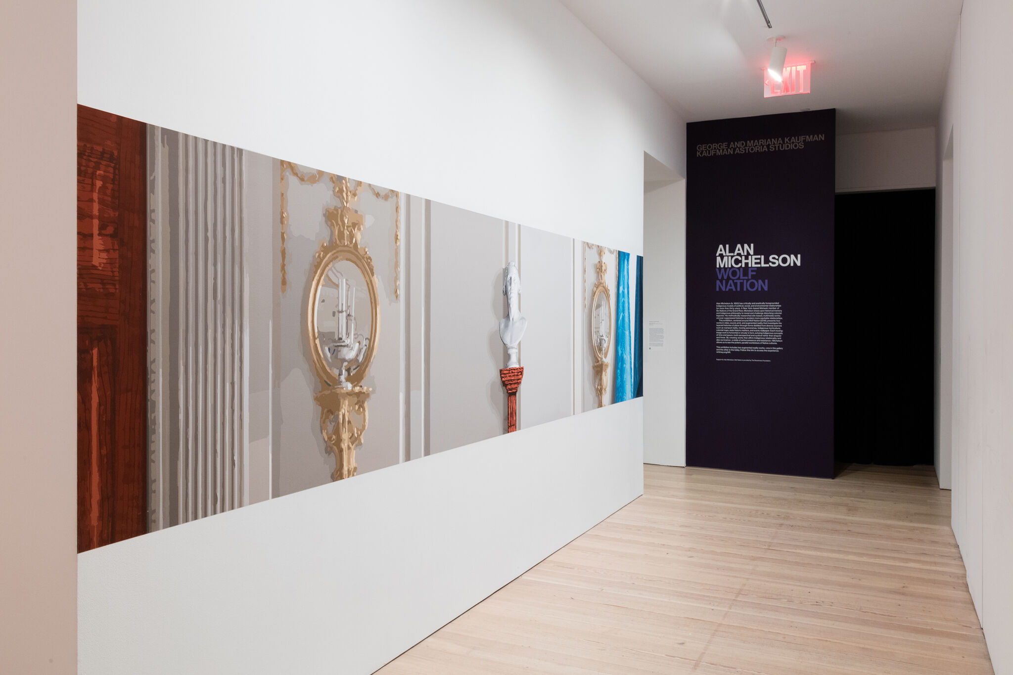 A hallway displaying a wide artwork depicting mirrors and a bust, along with wall text for the exhibition, Alan Michelson: Wolf Nation.