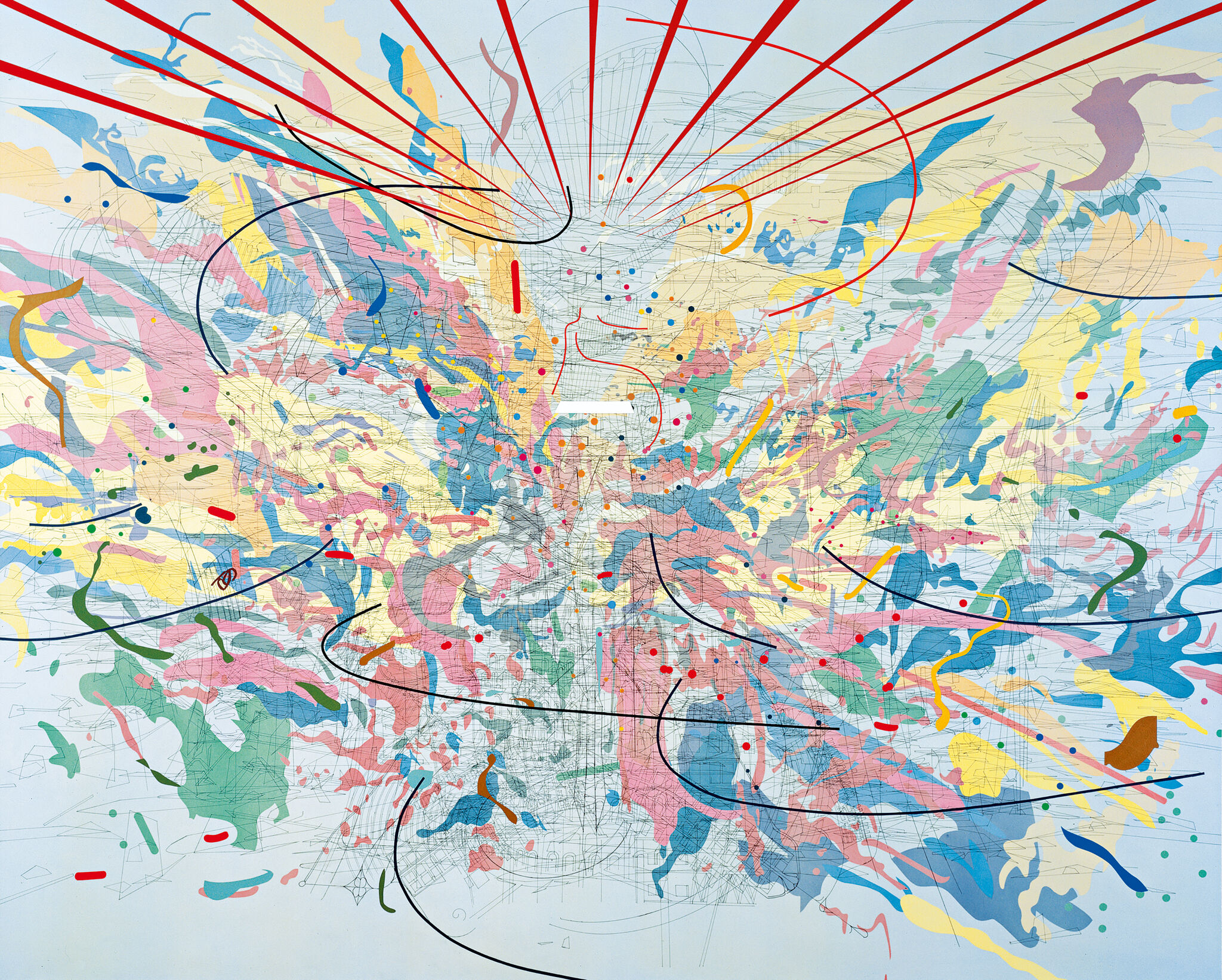 An image of Julie Mehretu's Looking Back to a Bright New Future, which is comprised of multi-colored ink and acrylic on canvas.