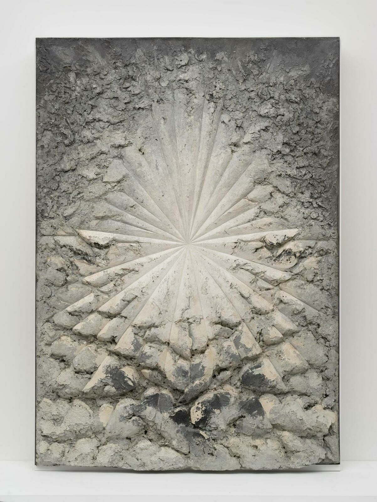 A still of Jay DeFeo's The Rose, comprised of oil, wood, and mica on canvas.