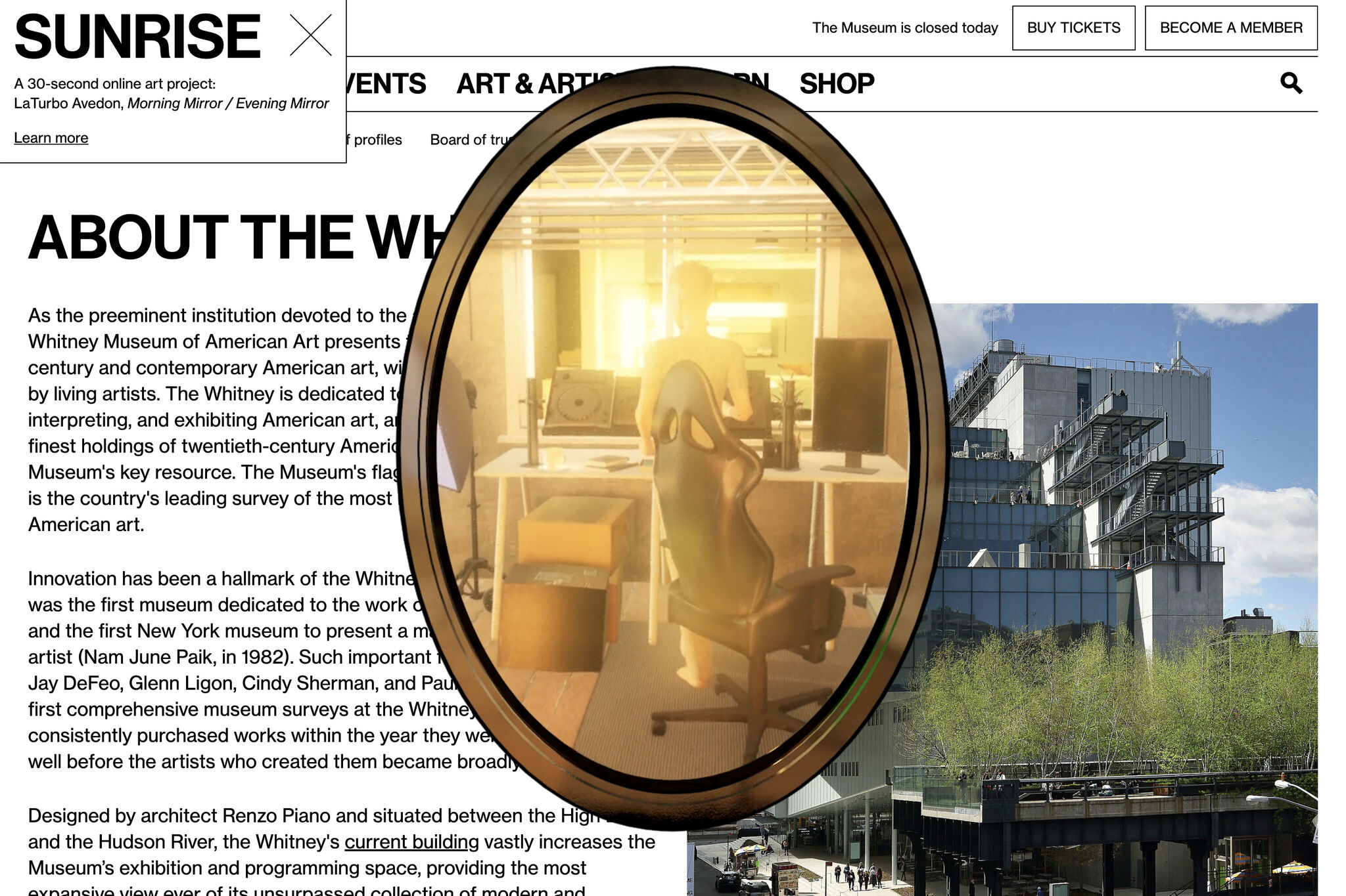 A mirror overlaid on a screenshot of whitney.org containing an avatar standing at their desk viewed from behind