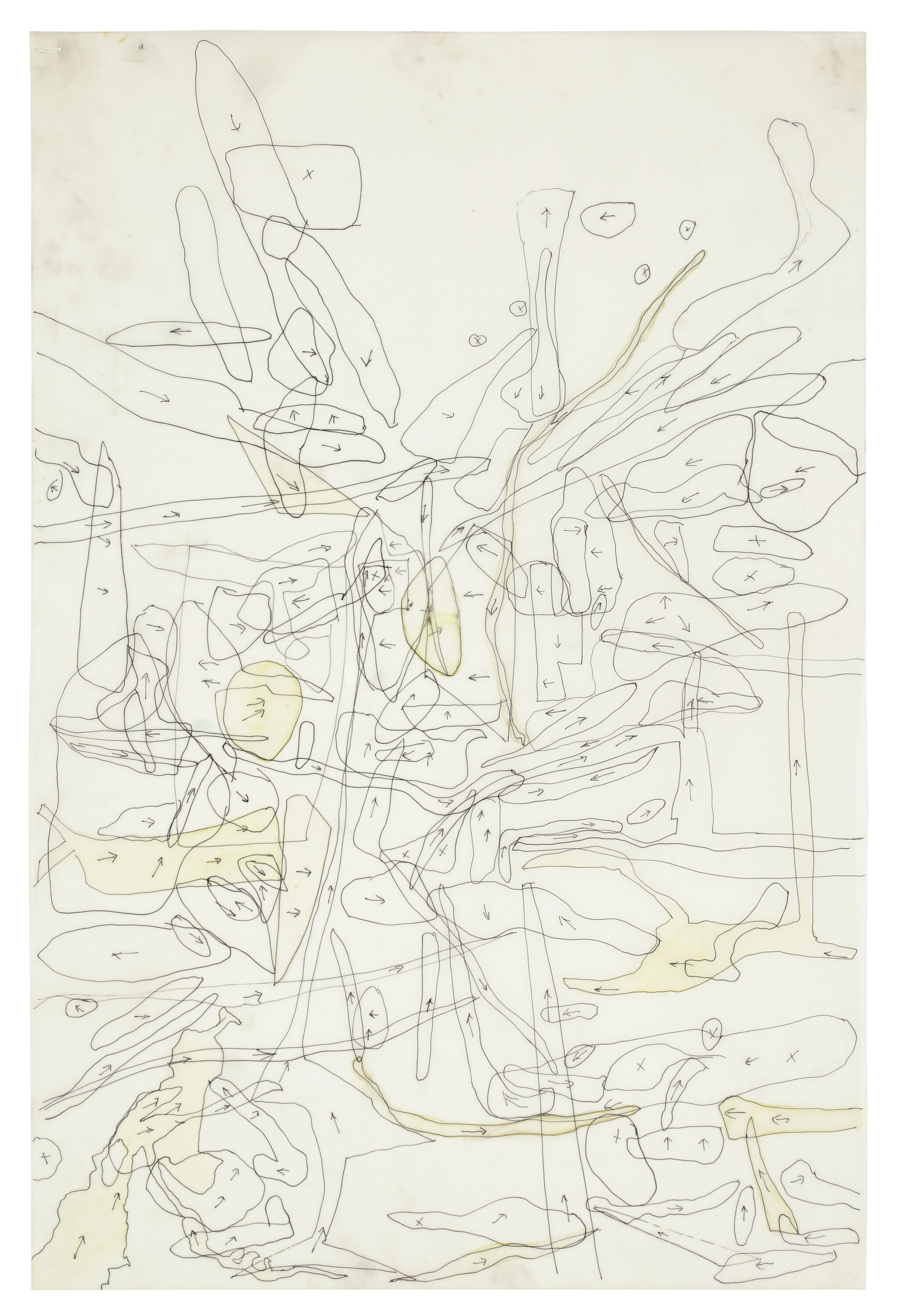 A series of abstract line drawings overlap across a beige background.