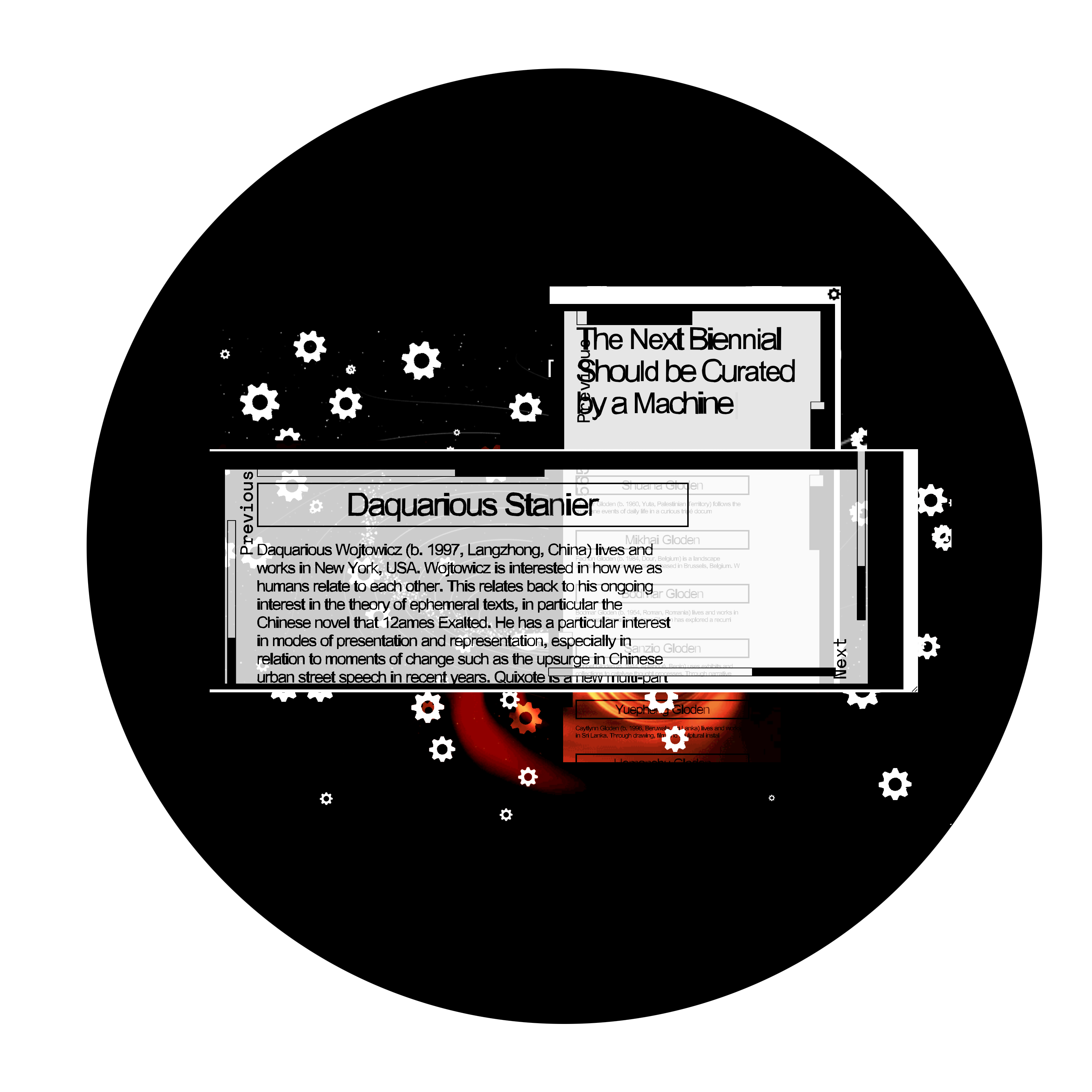 Overlaid gray digital text boxes against the background of a black circle with a design of white gears and red-orange swirls