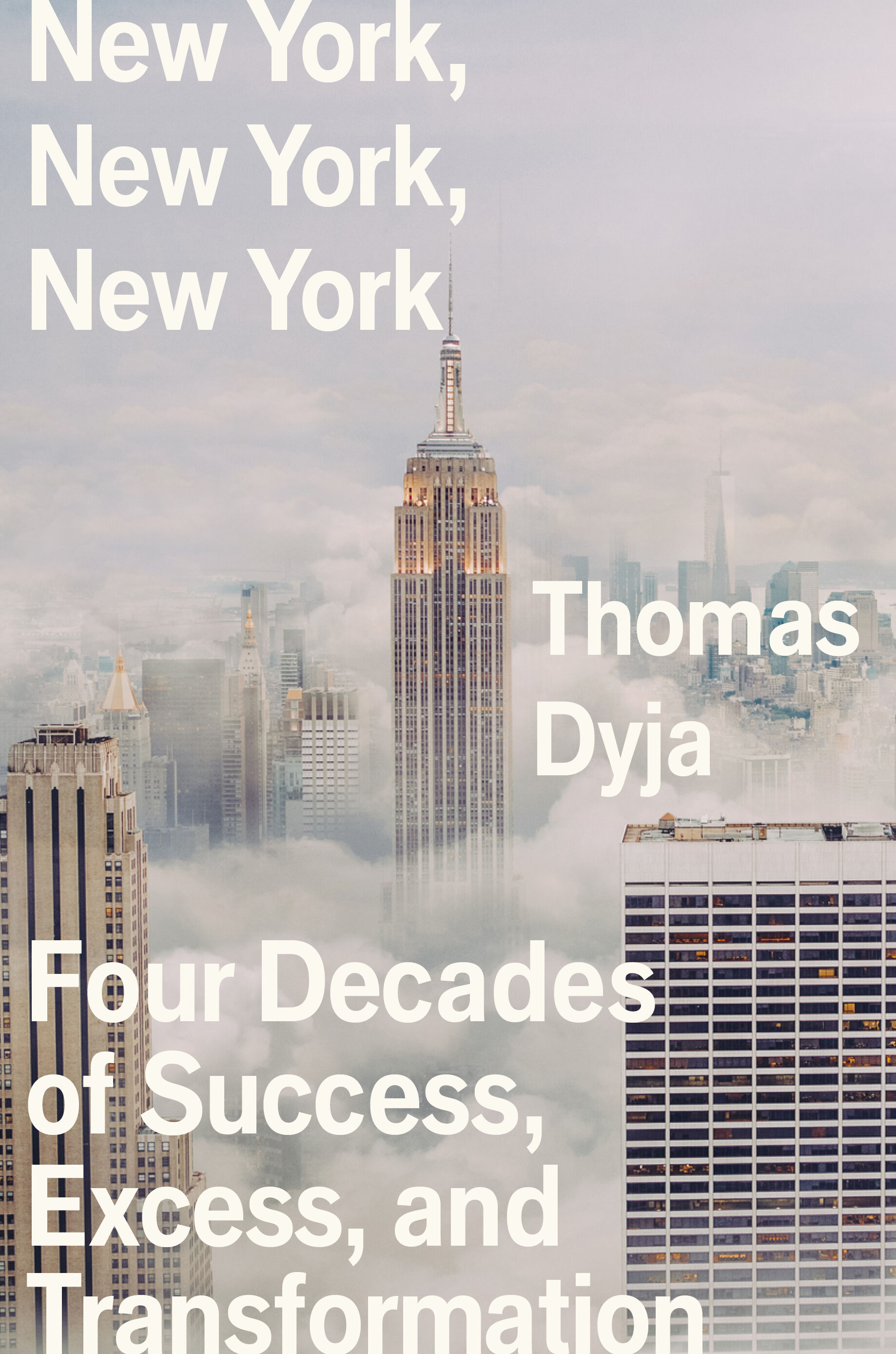 A book cover showing a cloudy New York cityscape with the Empire State Building towering over the clouds.