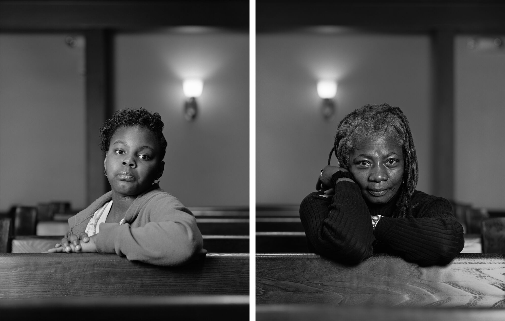 A diptych of photos each depicting a person sitting in a church pew and facing the camera.