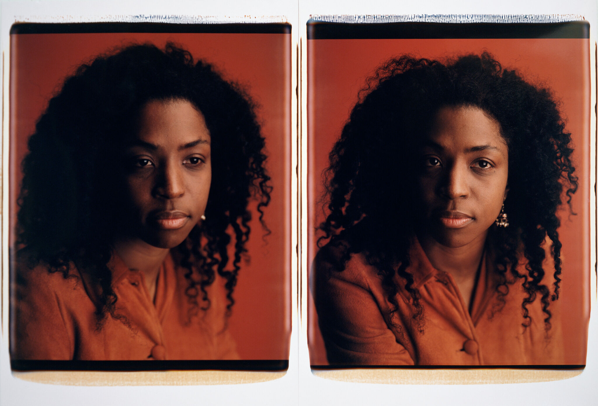 A diptych of photos, each a different portrait of the same woman.