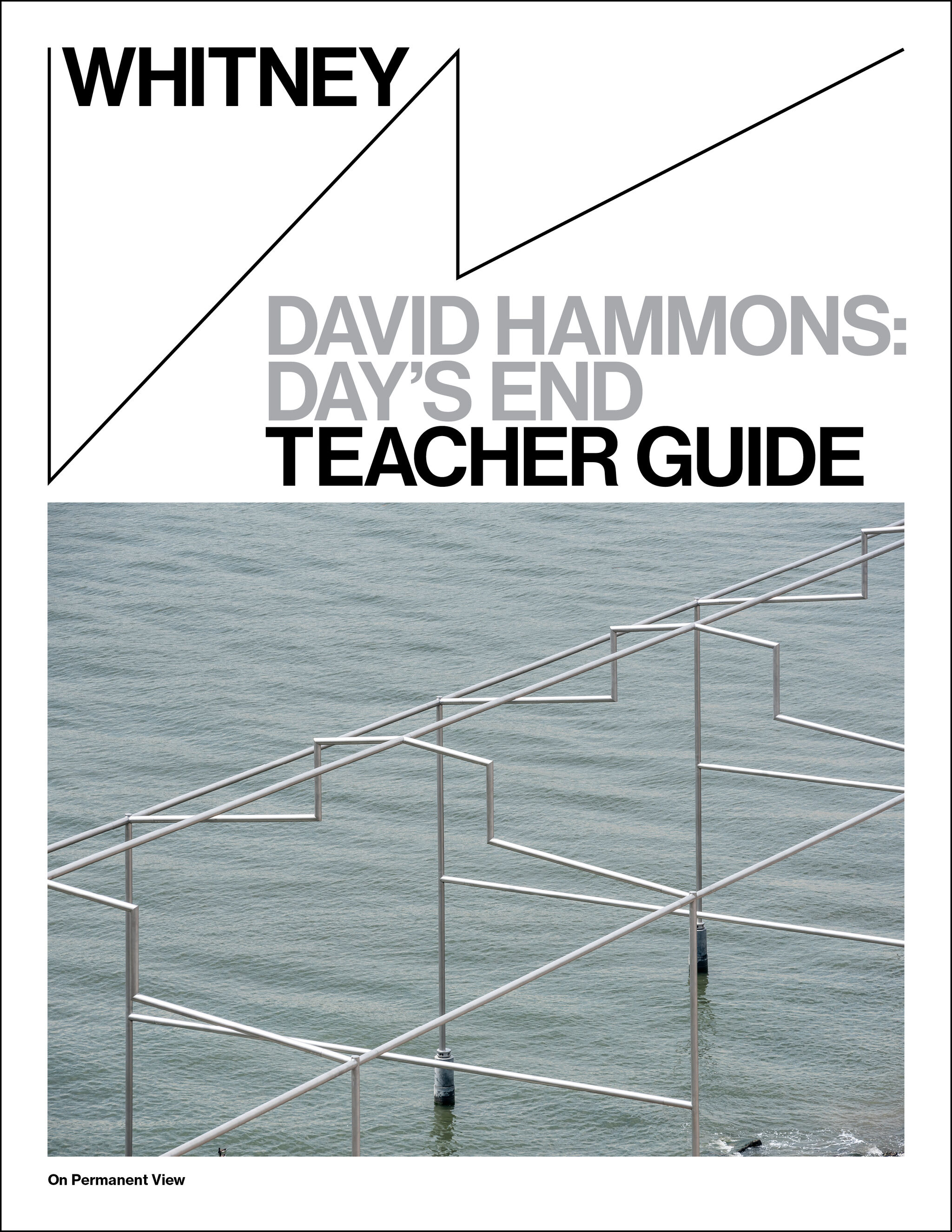 Cover image of Teacher Guide for David Hammons: Day's End, with image of Day's End sculpture against rippling water.
