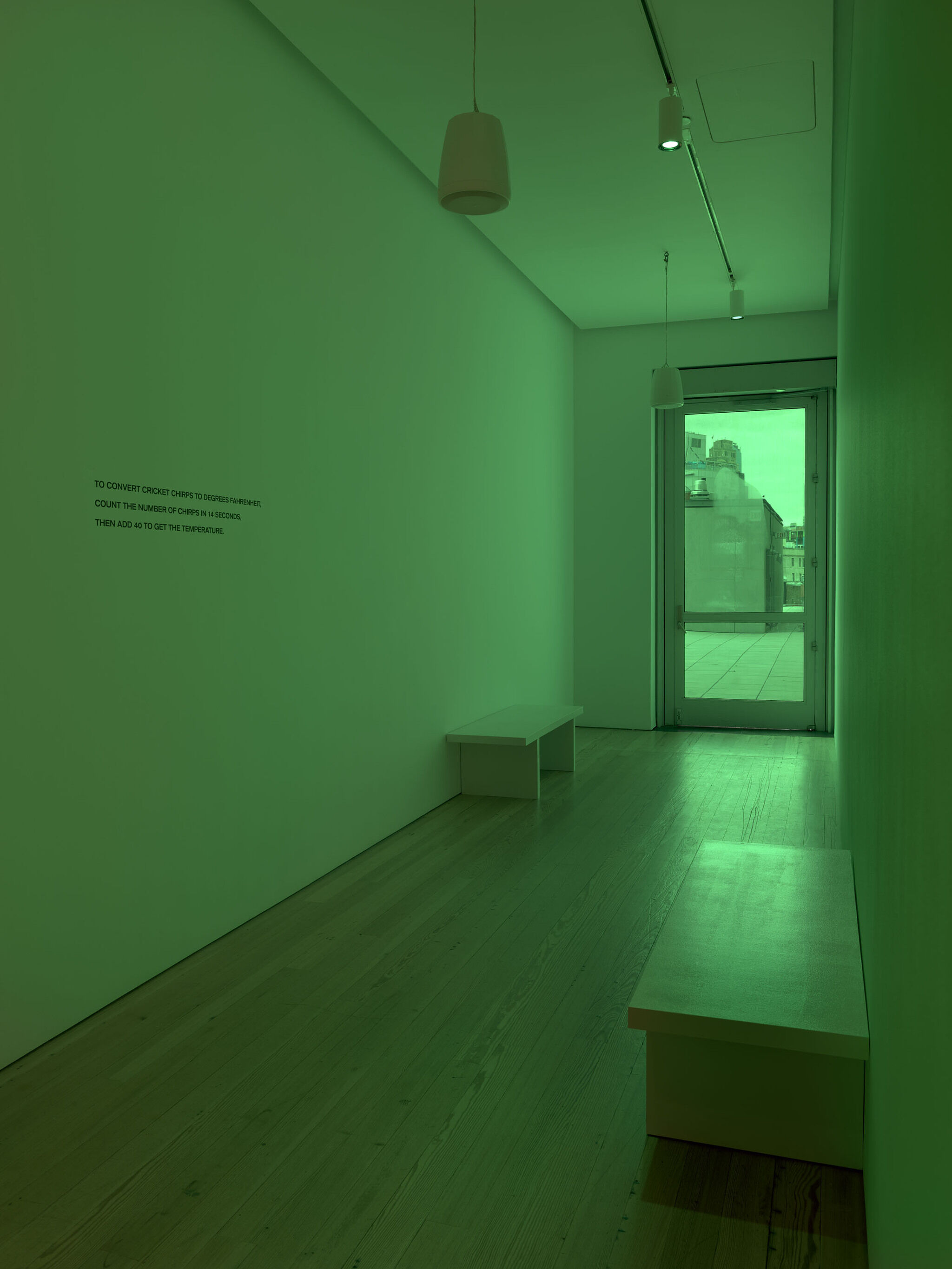 A green hue of light fills a Whitney hallway that leads to an outside terrace.