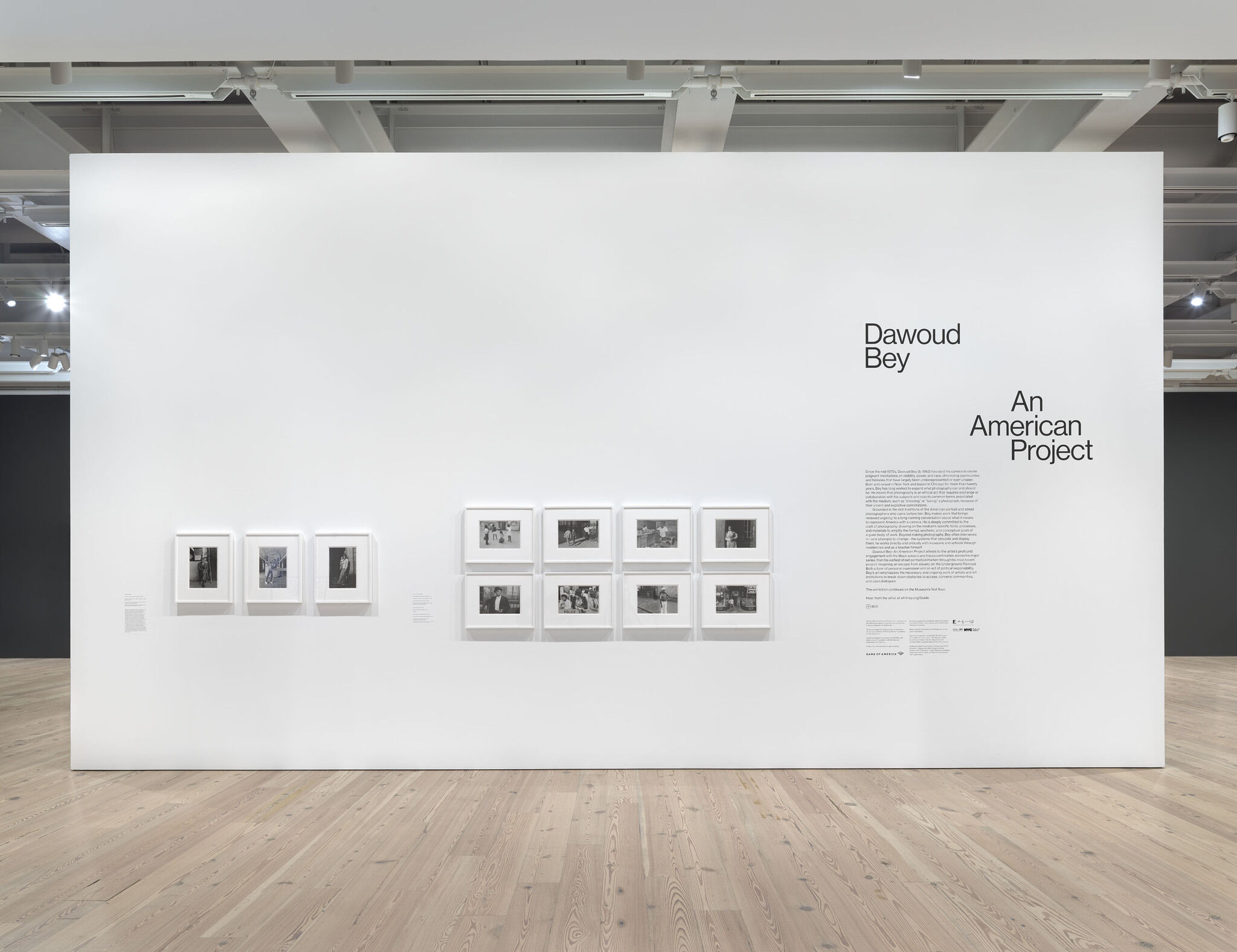 The opening exhibition wall for Dawoud Bey, which features the exhibition's introductory wall text decal and eleven framed photographs.
