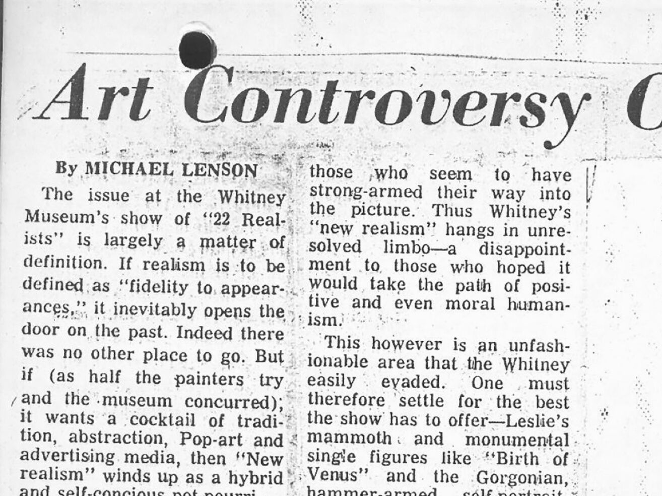 """A newspaper clipping with the headline that reads """"Art Controversy Over 'Realism'."""""""