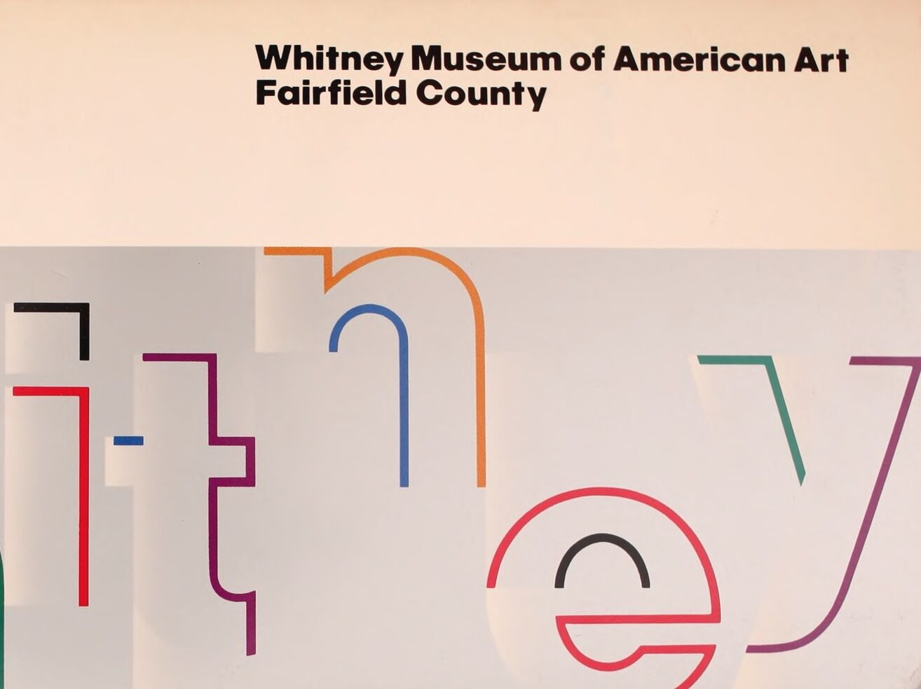 """A Whitney brochure cover with the word """"Whitney"""" written in large, colorful letters."""