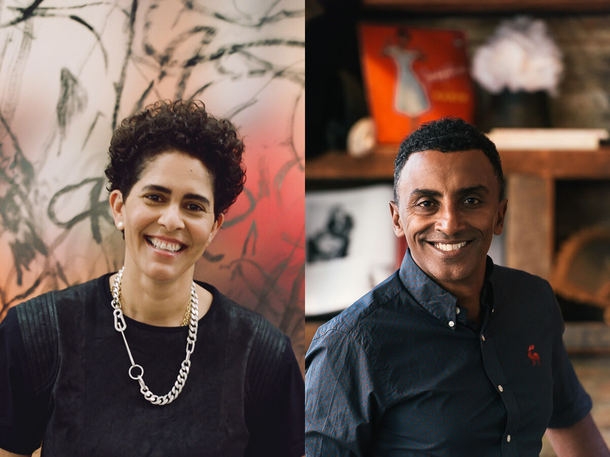 Side-by-side portraits of artist Julie Mehretu, smiling on the left, and chef Marcus Samuelsson, smiling on the right.