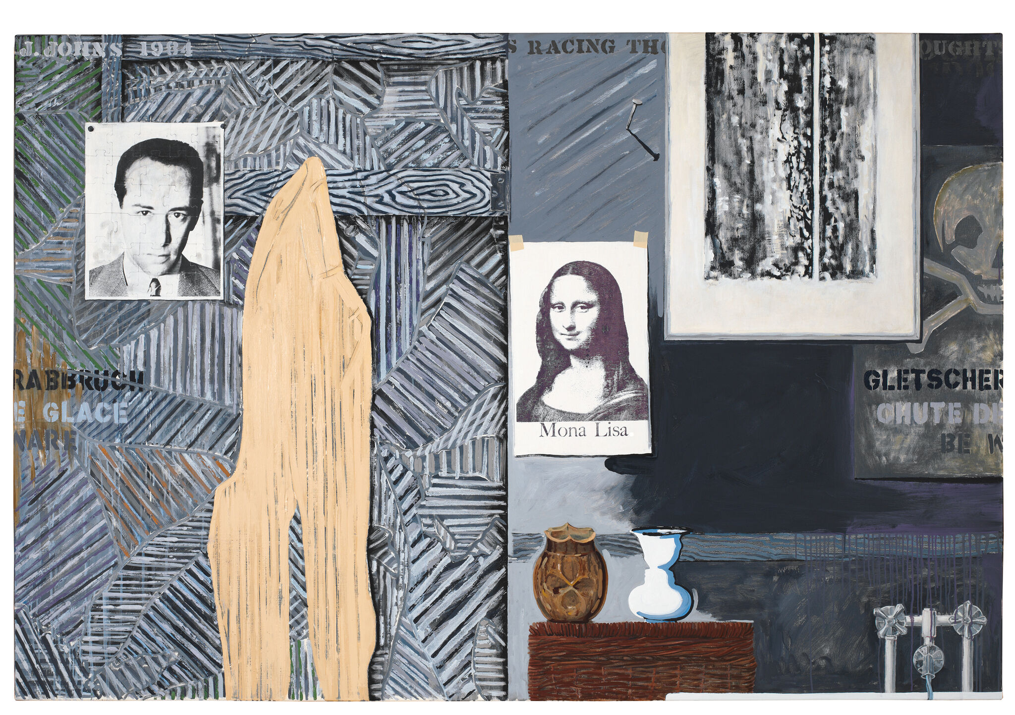 Abstract view of a gray, black, and white interior, with photographs artwork reproductions, and artworks on the walls; two vases; a faucet; and words embedded in the patterned background.