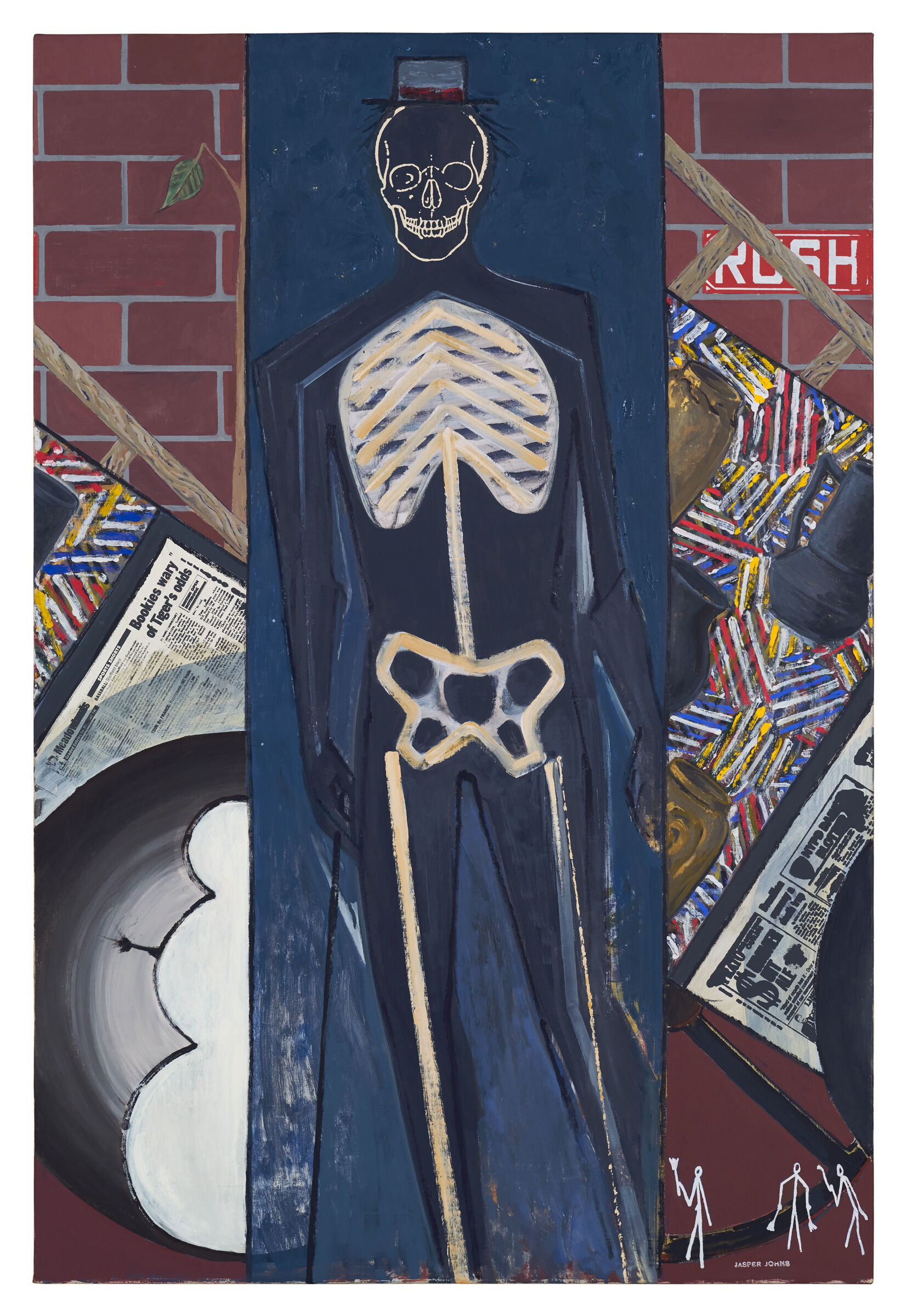 Skeleton wearing a hat against a blue vertical panel that runs down the center of the composition, with brick walls on either side and assorted objects and symbols in front, including ladders, a painting, newspapers, and stick figures.