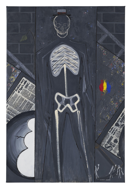 The outline of a skeleton against a backdrop of black brick.