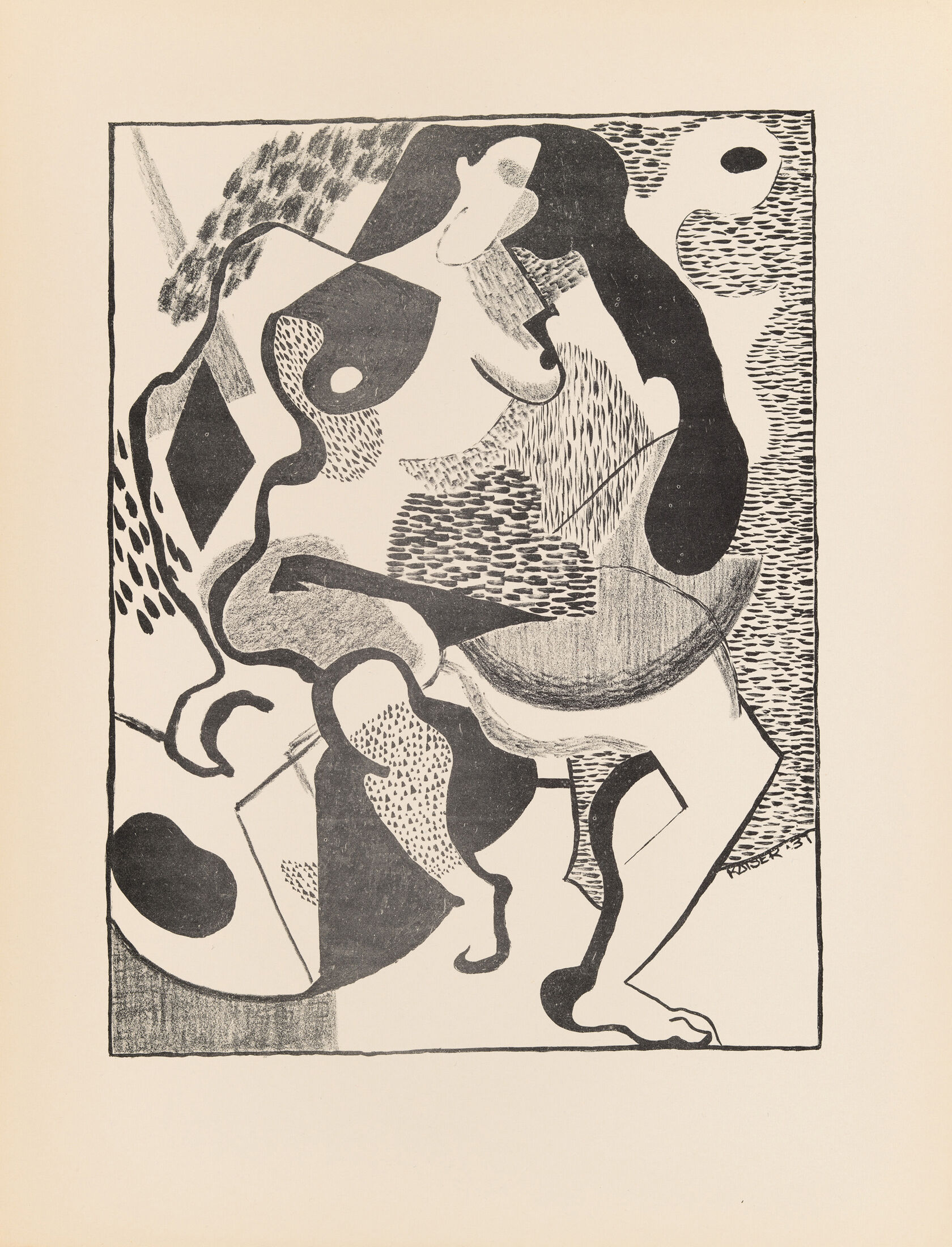 Black-and-white abstract drawing of a nude female figure, segmented into abstract, geometric shapes of varying patterns and shading.