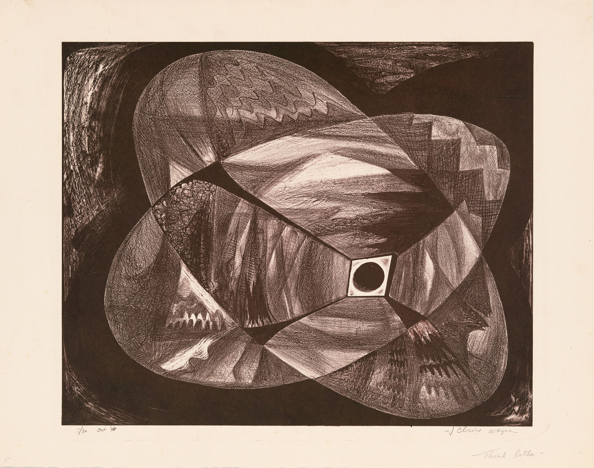Black circle surrounded by shadowy, fragmented forms of varying shading and patterns.