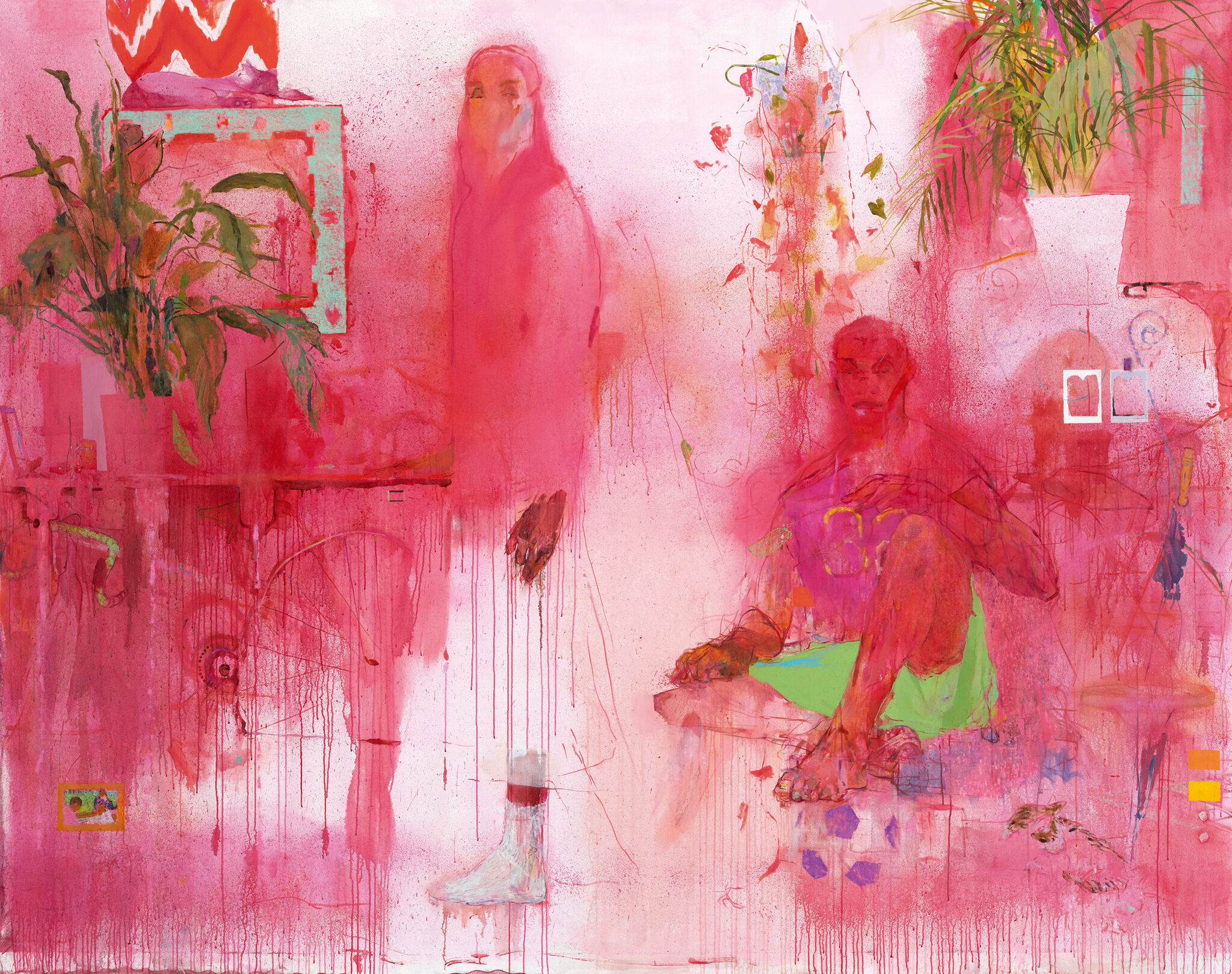 Two figures, one standing and one seated, in a pink room with plants, artwork, and furniture subtly emerging from the painterly background.