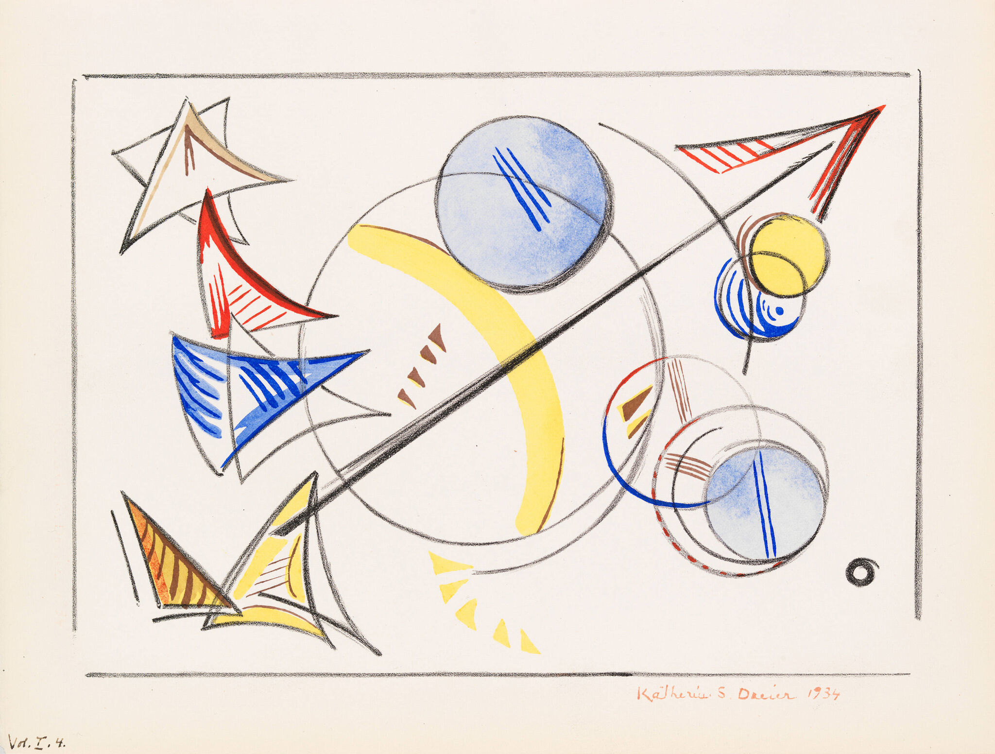 Colorful line drawing of overlapping circles and triangles.